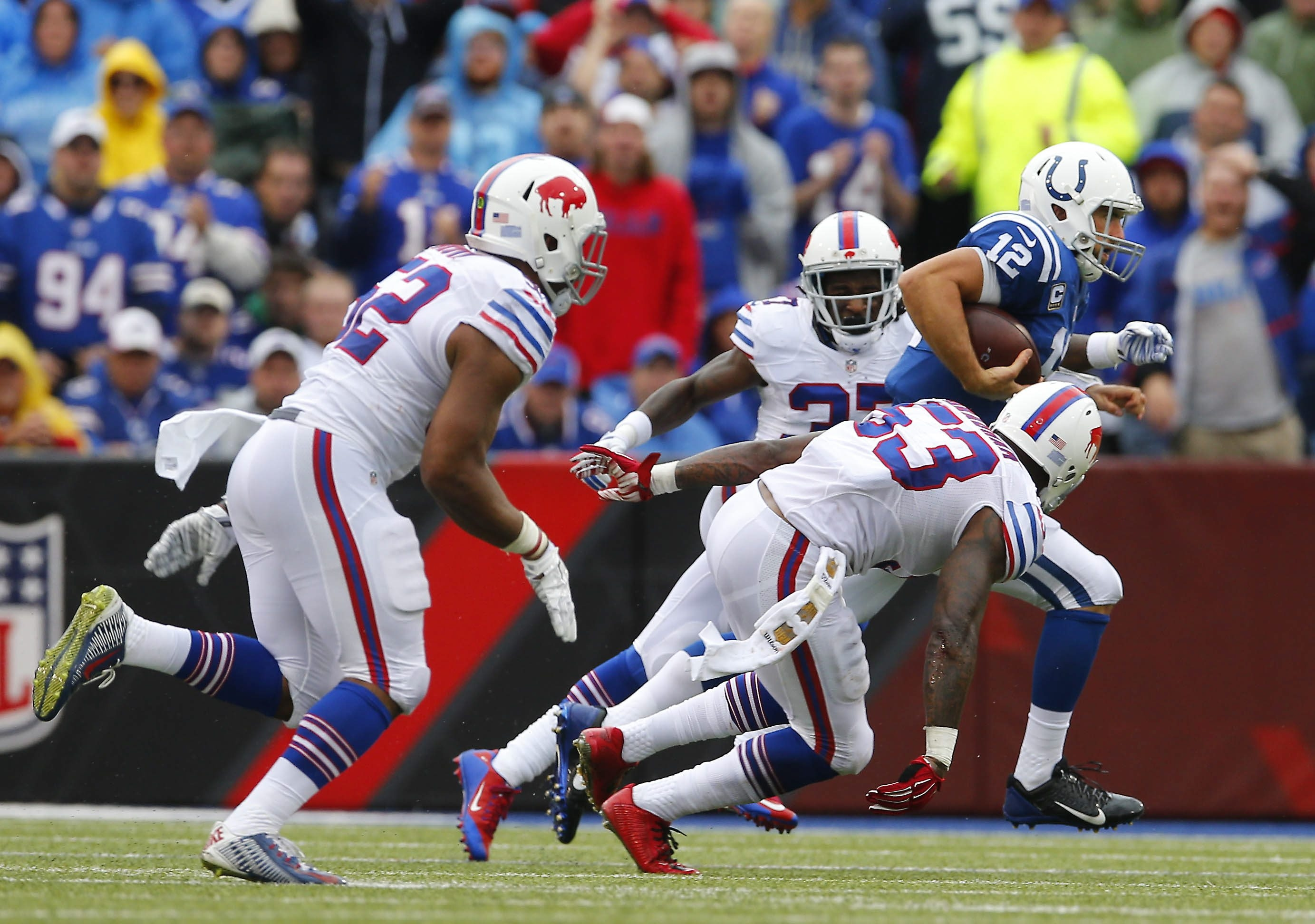 Colts quarterback Andrew Luck was under constant pressure from the Bills defensive front, which recorded only two sacks but helped create two interceptions.
