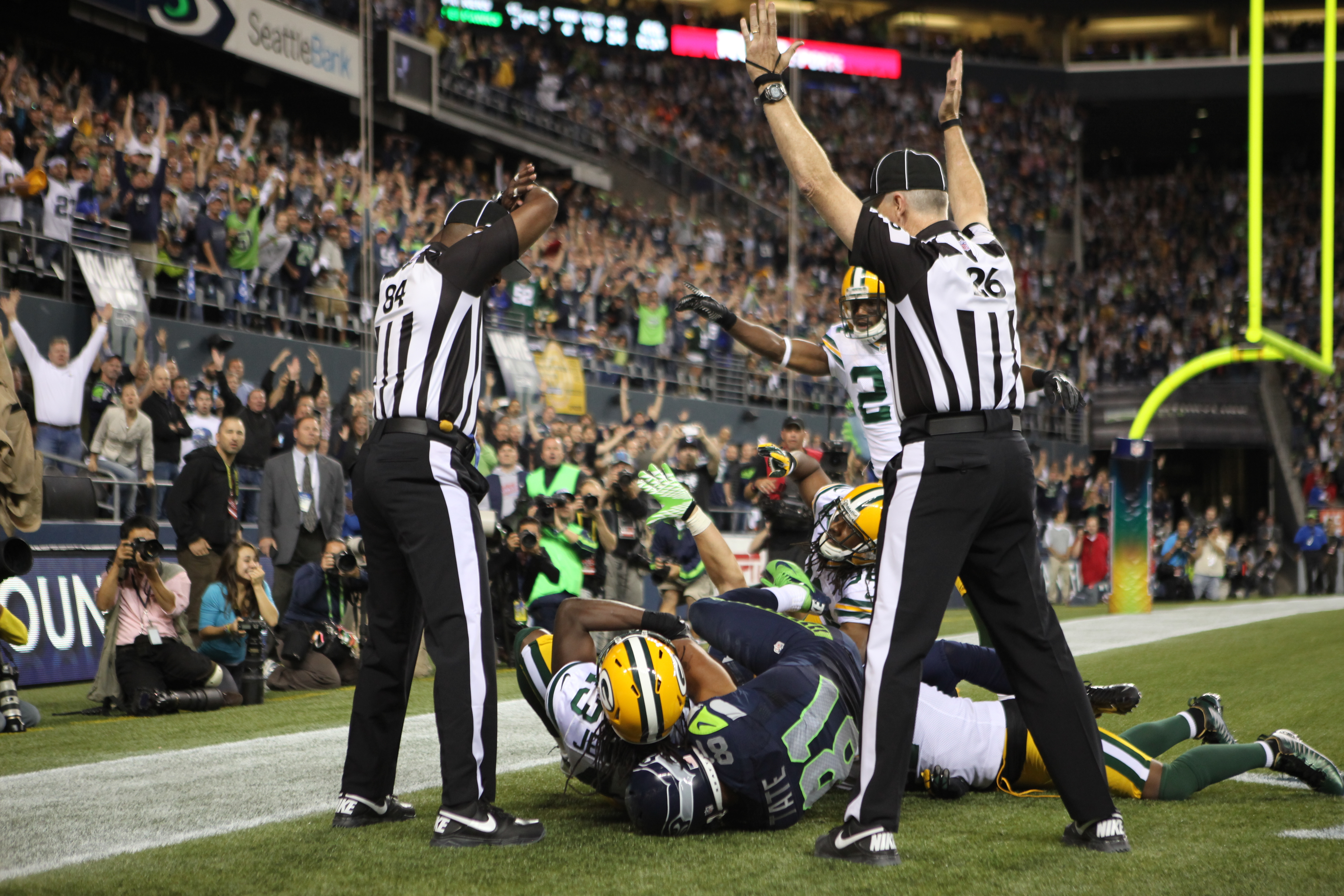 Seattle wide receiver Golden Tate makes a catch in the end zone on the controversial call that made the Seahawks-Packers matchup in 2012 one to remember. (Getty Images)