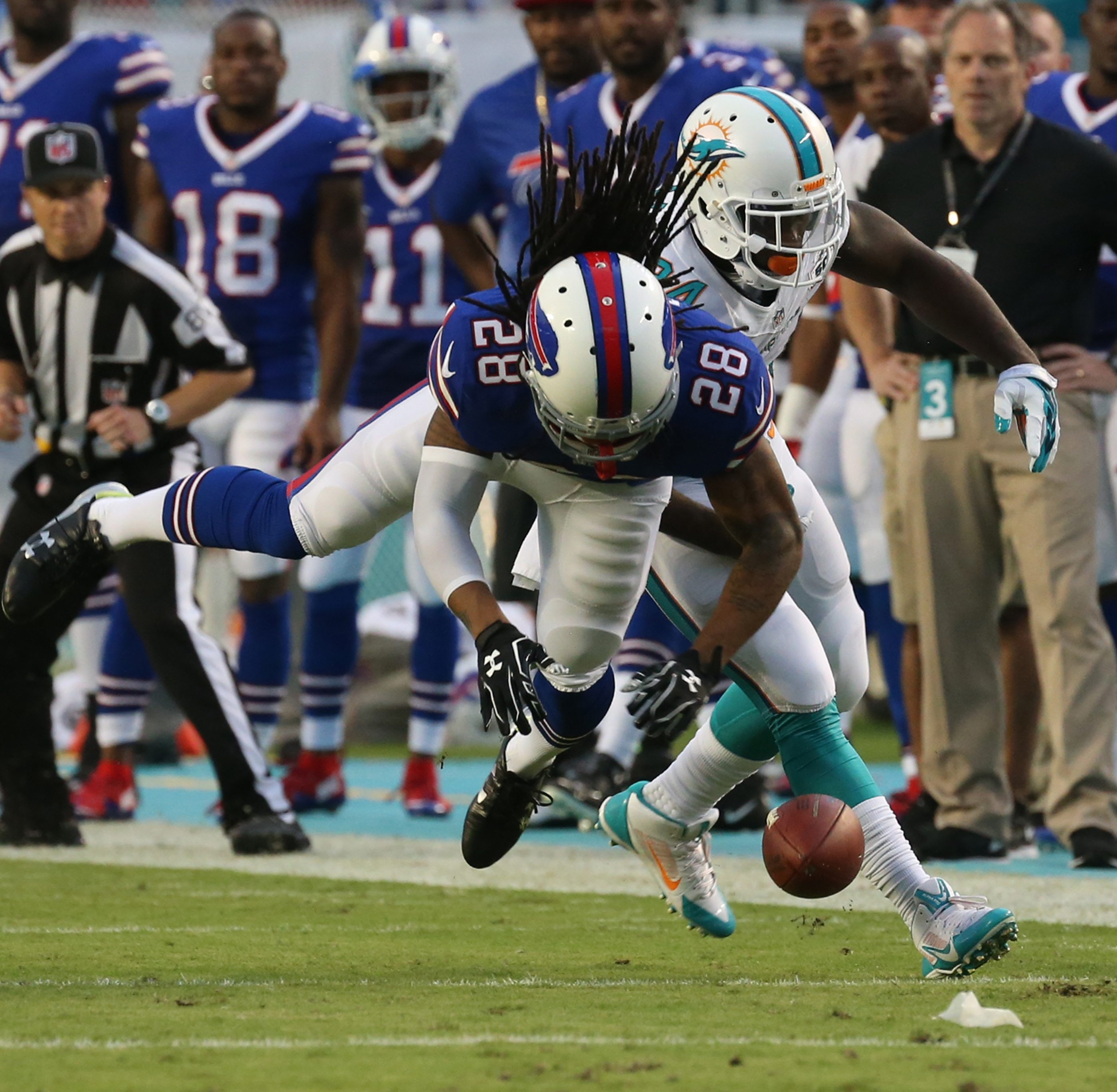 Bills cornerback Ronald Darby breaks up a Dolphins pass during the first quarter at Sun Life Stadium, where the fans were booing Miami at halftime.