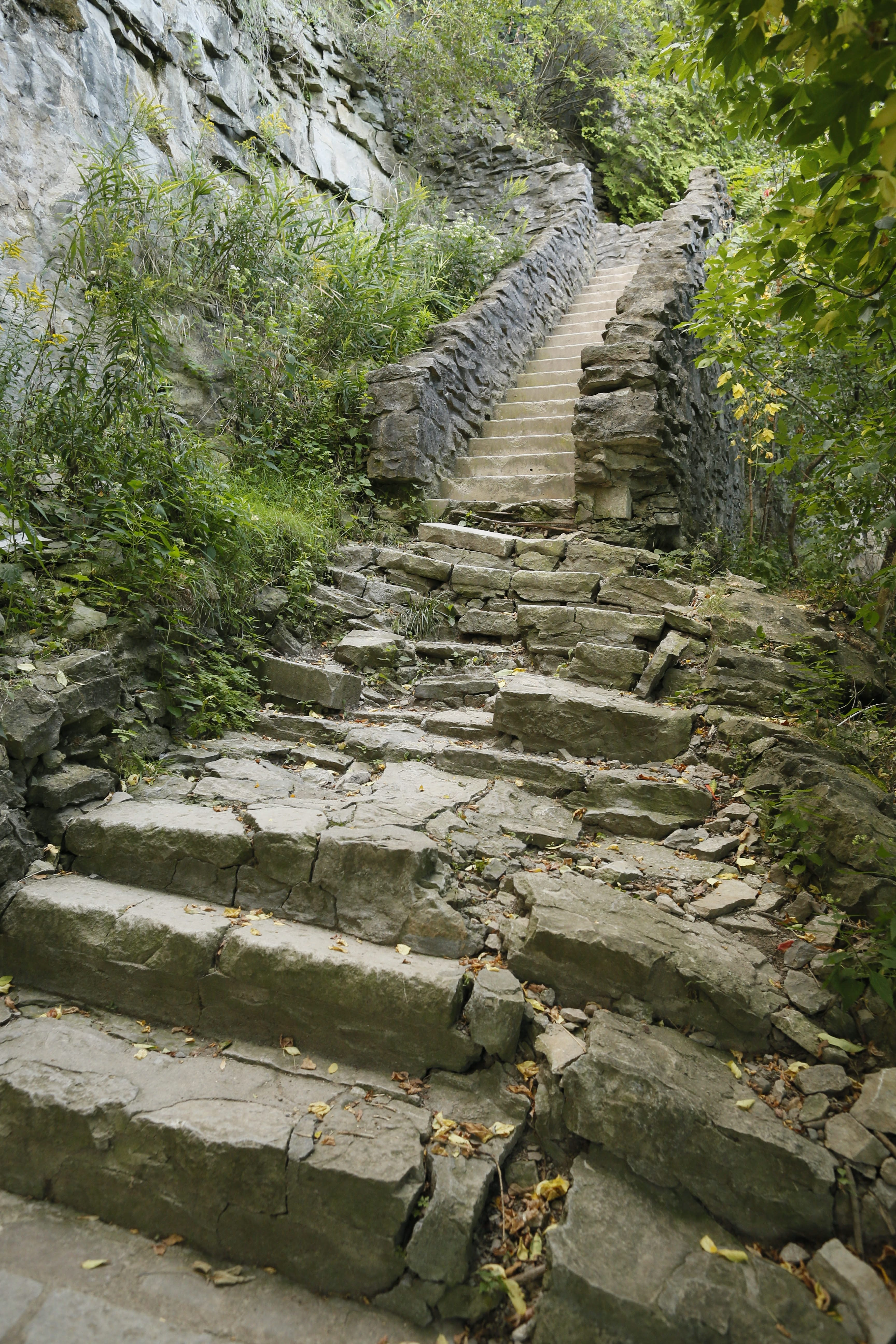 The stairs down into the Niagara Gorge trail at Whirlpool State Park are crumbling and in some places listing downhill, Thursday, Sept. 10, 2015.  (Derek Gee/Buffalo News)