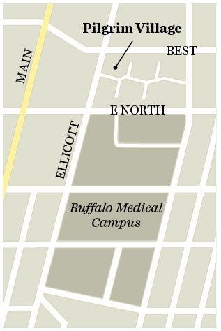 Map showing location of Pilgrim Village near the medical campus.