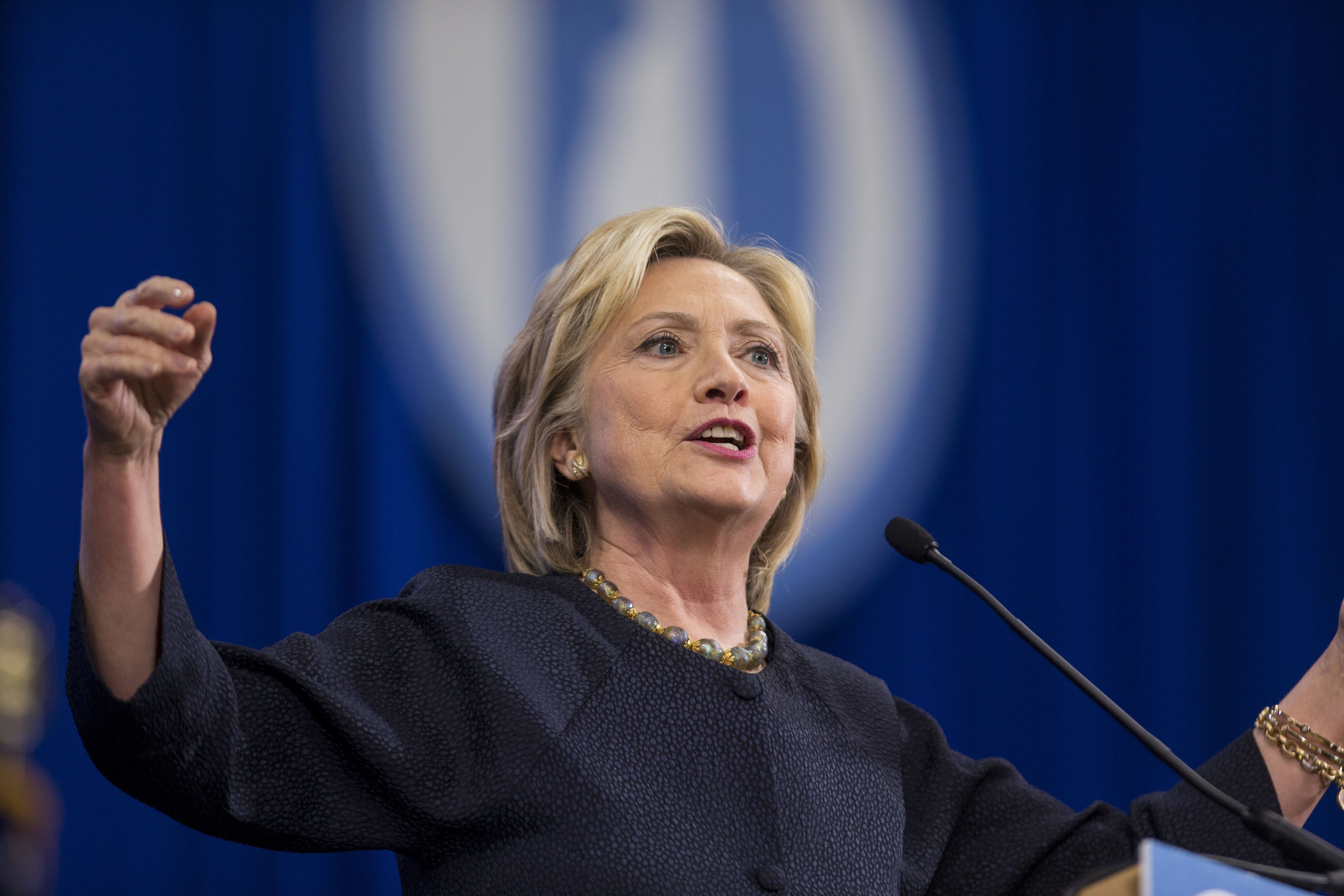 Democratic presidential candidate Hillary Clinton's proposal for disclosure of public companies' political contributions would at least allow voters to track who is trying to influence politicians.(Getty Images)