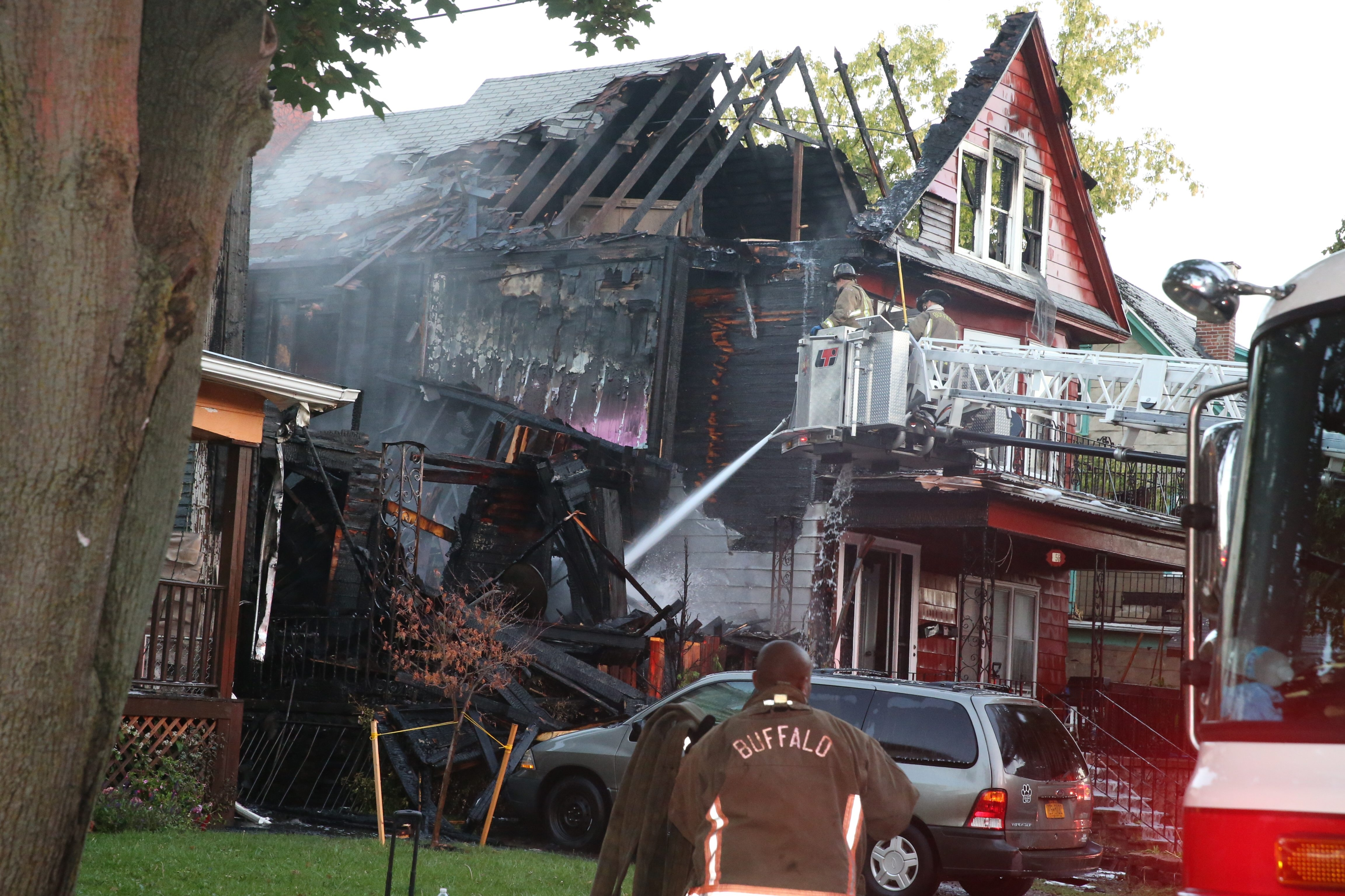 Three homes were damaged after a two-alarm fire in the 400 block of Herkimer Street on Wednesday morning. Overall damage was estimated at $320,000.