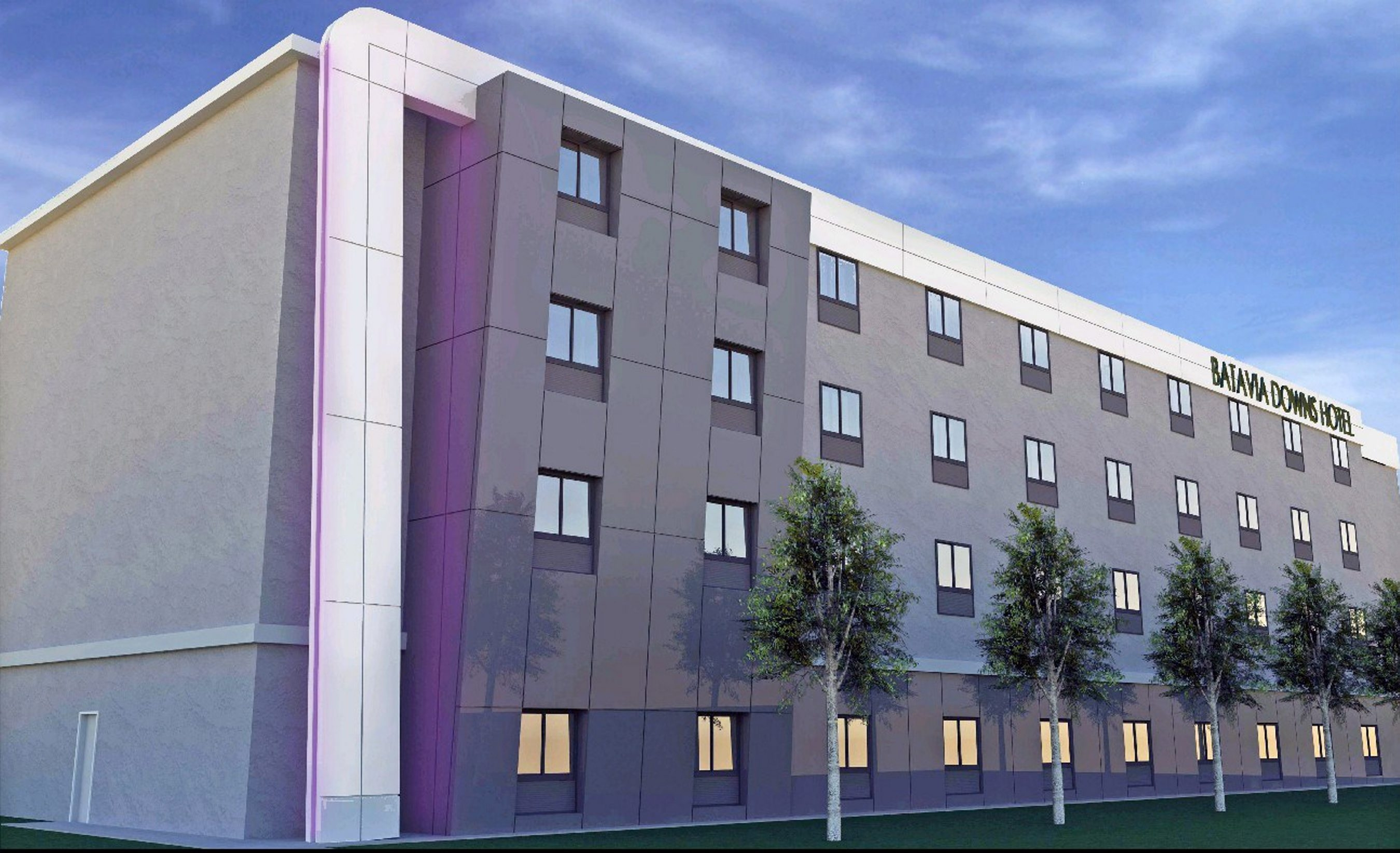 Rendering of 84-room hotel to be connected to Batavia Downs Gaming. The last preliminary step was closing of $605,000 sale of 35,000-square-foot parcel of land to ADK Hospitality.