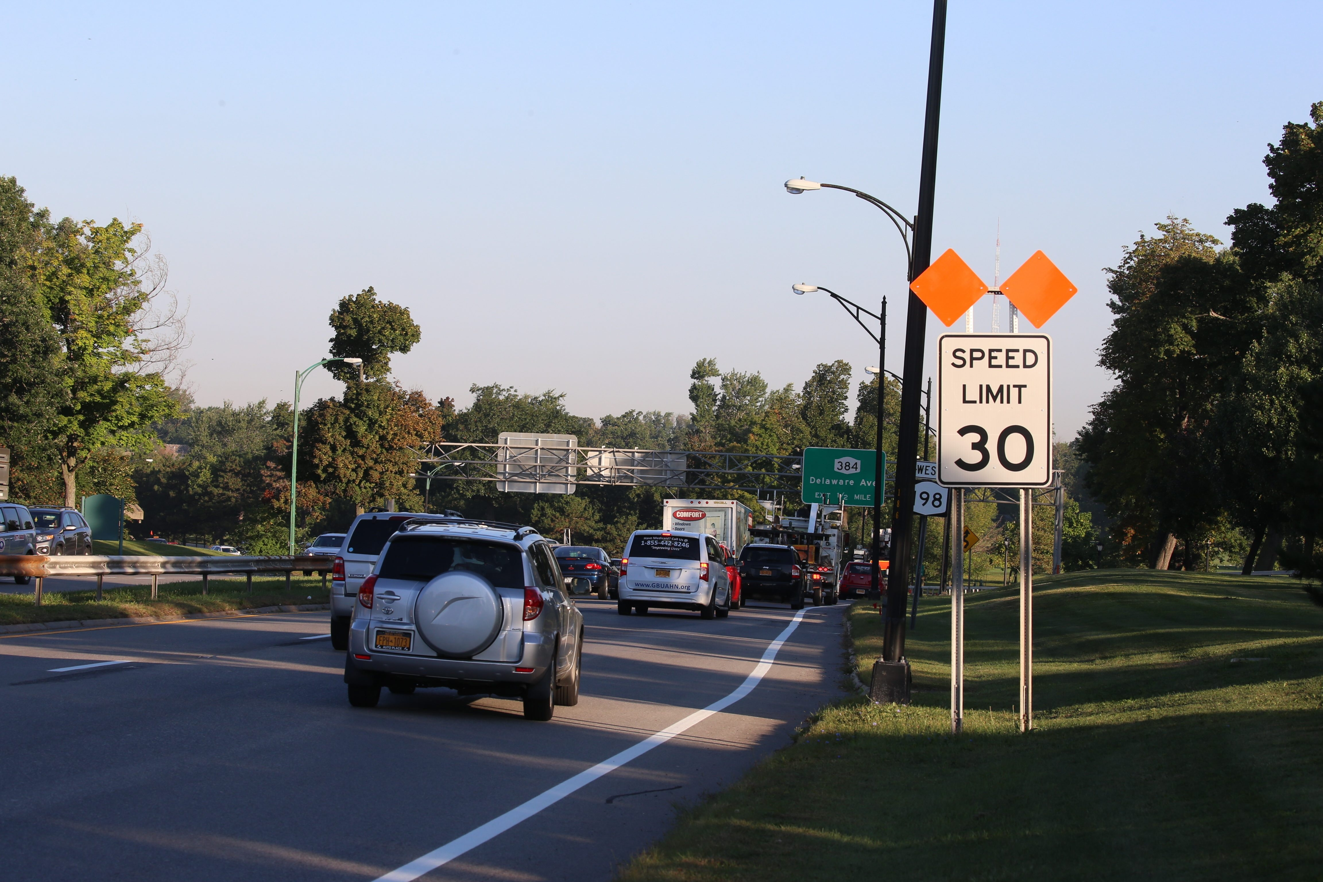 Long-term plans for the redesign of the Scajaquada Expressway, shown during morning rush hour, have not been finalized by the DOT.