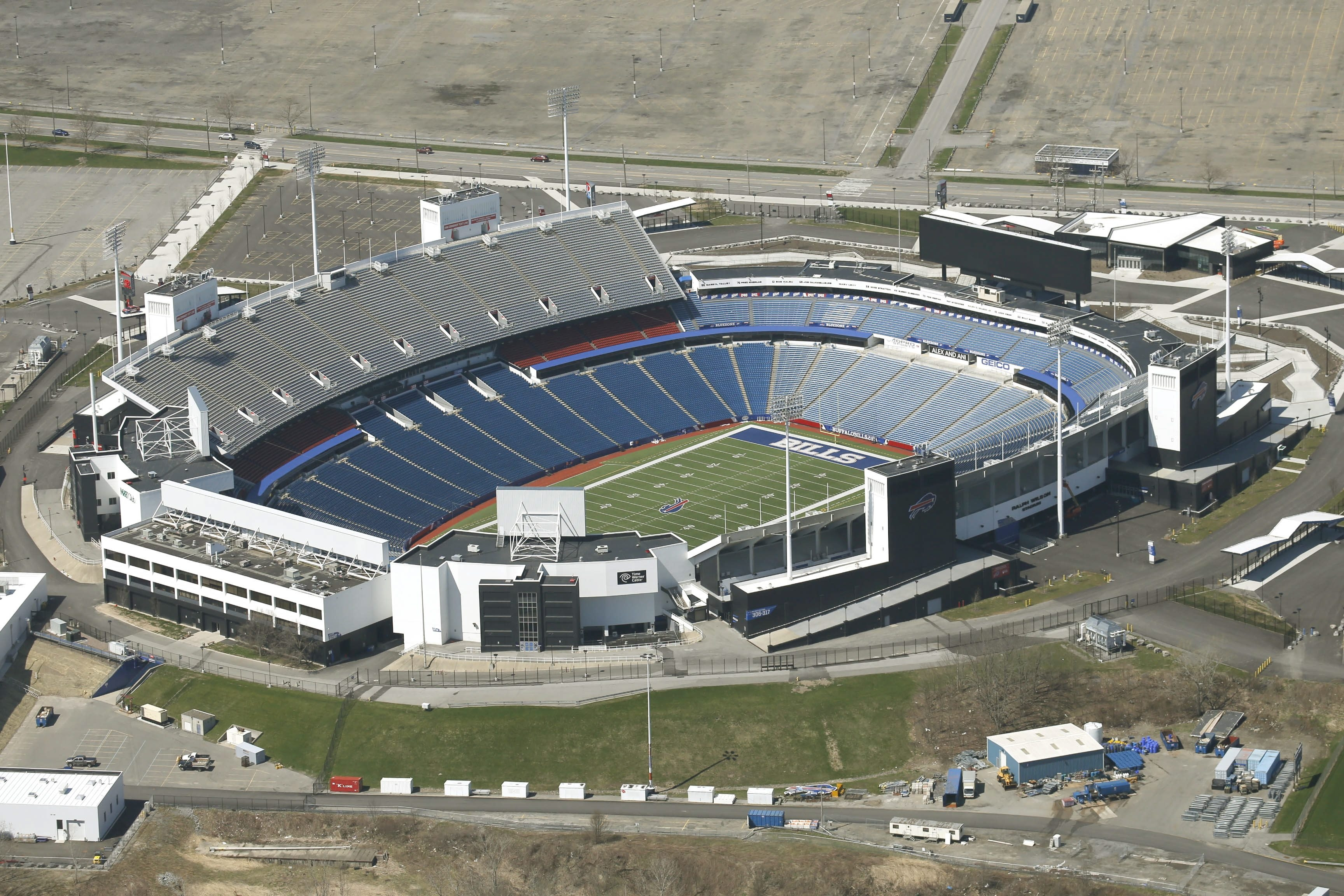 Aerial photograph of Ralph Wilson Stadium where a middle-aged male from WNY died late Saturday night from a self-inflicted gunshot wound in the camper parking lot.  (Robert Kirkham/Buffalo News)