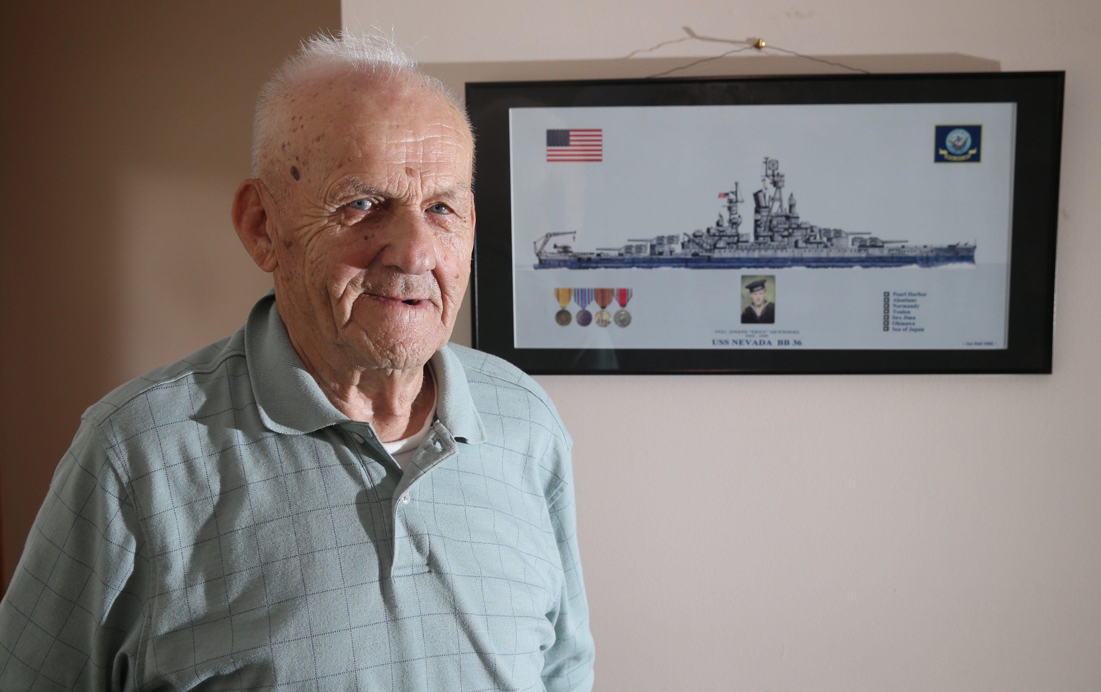 "Navy vet Joseph A. ""Fritz"" Siewierski, 91, participated in three battlefronts during World War II."