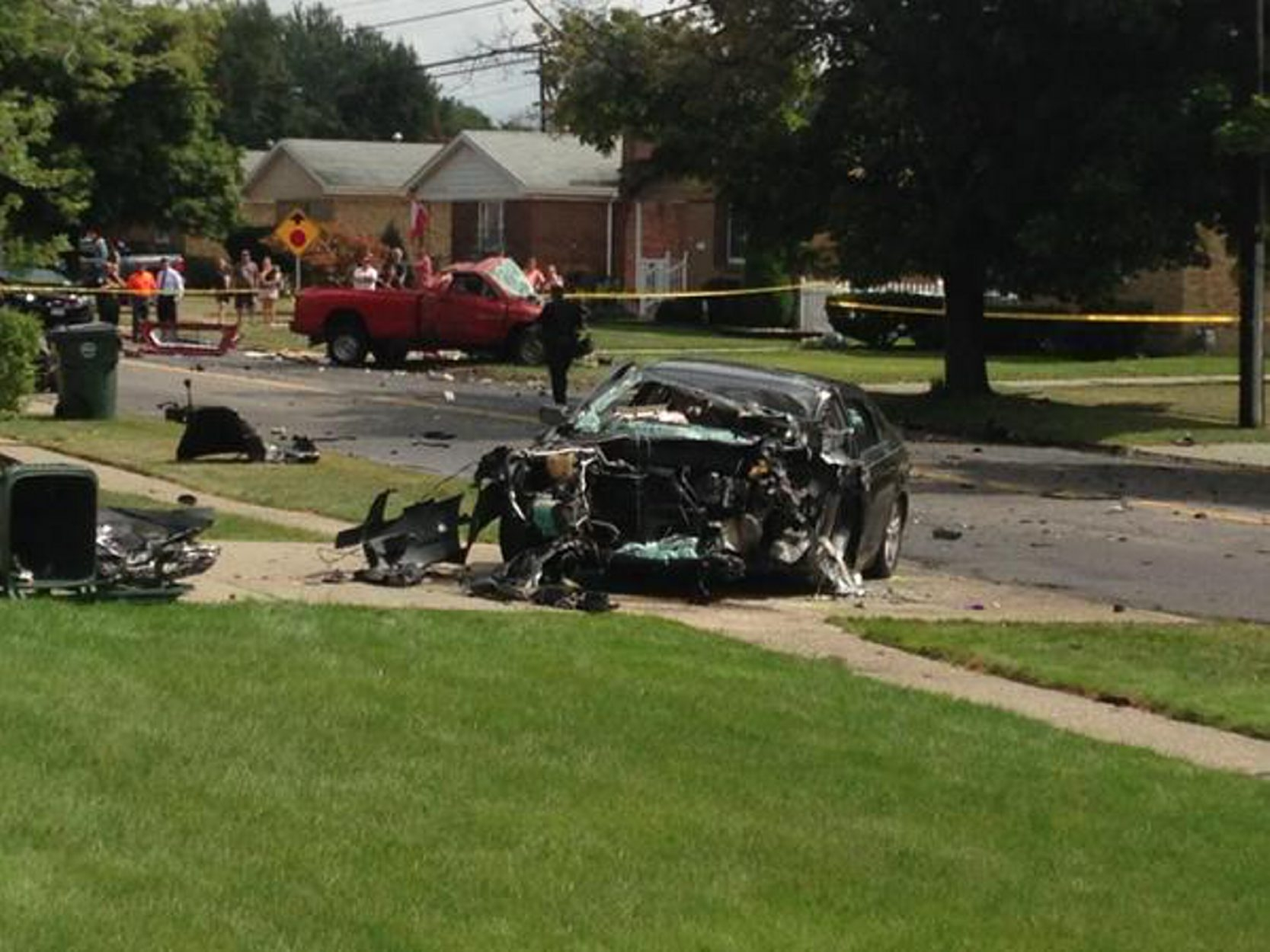 The scene of fatal mid-day collision on French Road in Depew that killed the driver of the car, injured three others