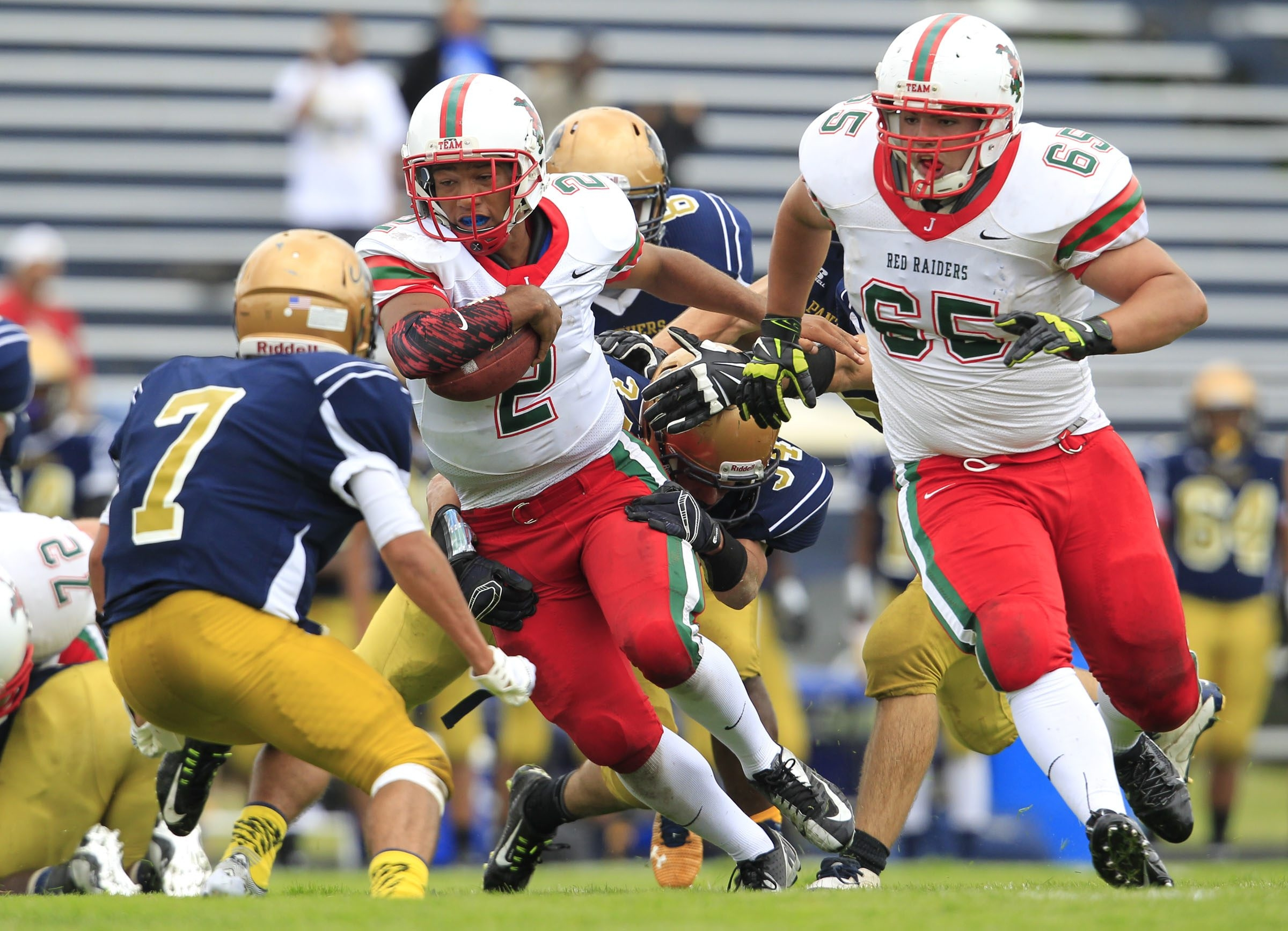 Quarterback Nikkolas Holland (2) of Jamestown is one of three first team All-WNY players back for the 2015 season.