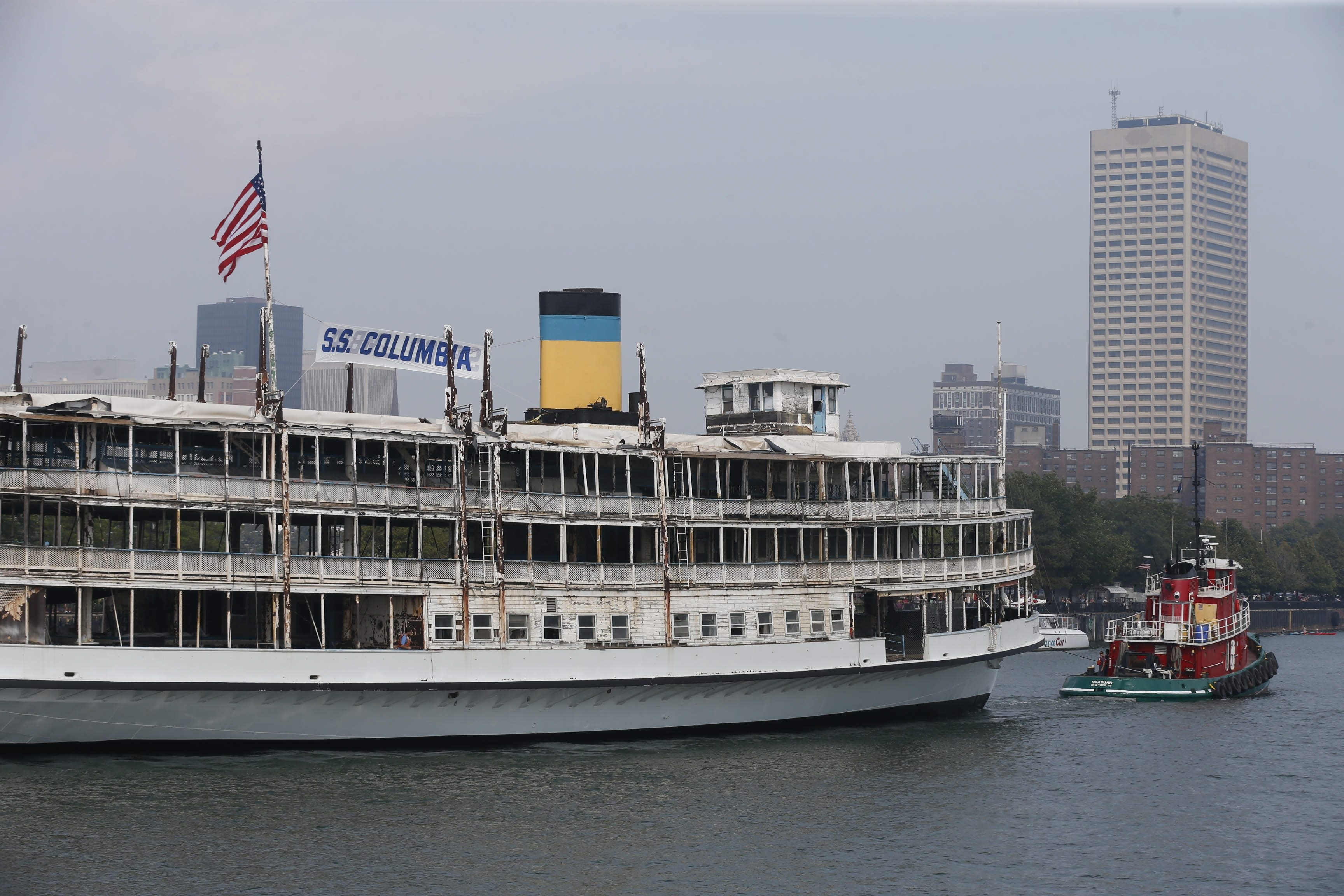 Robert Kirkham/Buffalo News The SS Columbia, America's oldest steamship, built in 1902, arrives for a visit to Buffalo Harbor on Wednesday.