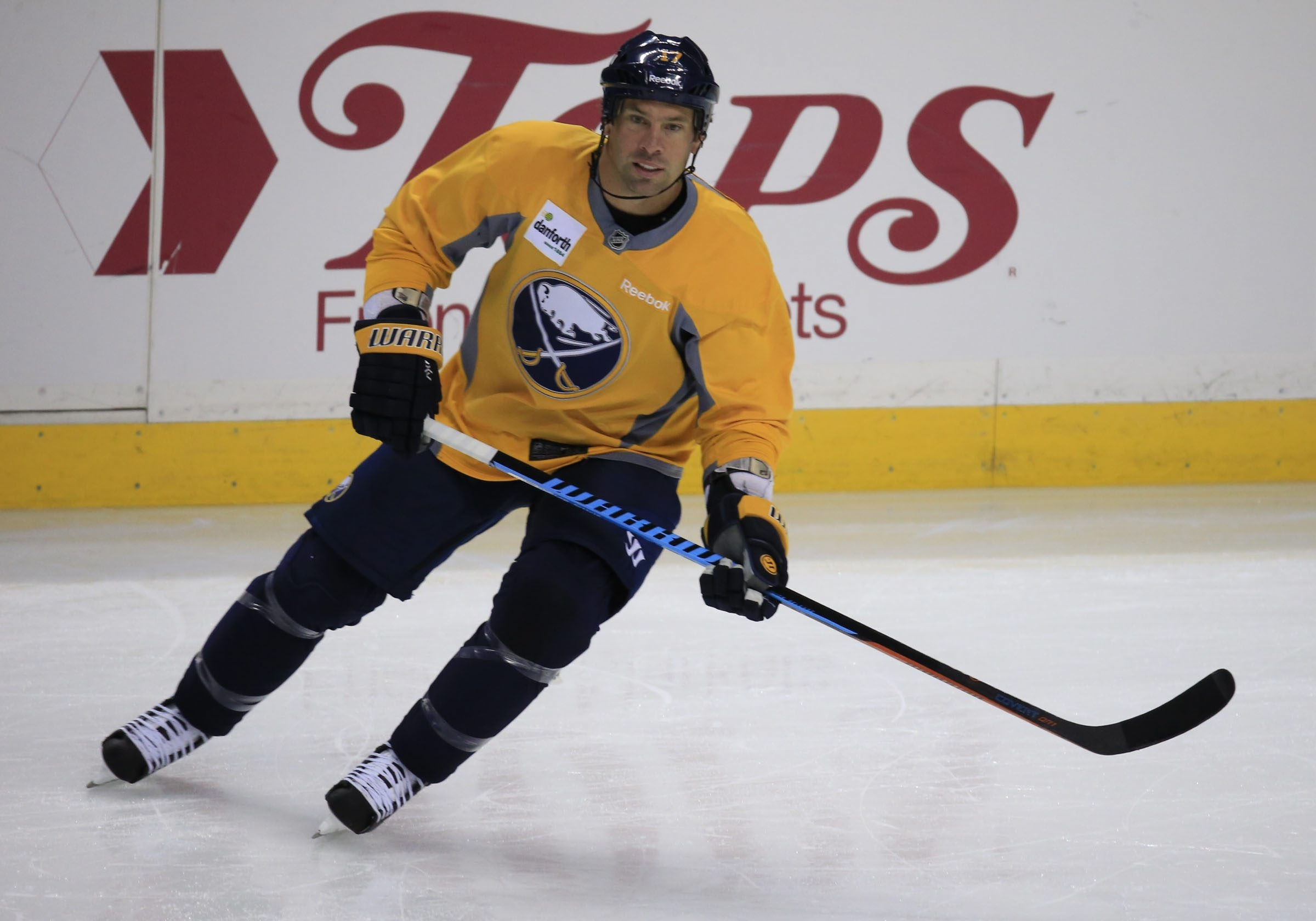 Buffalo Sabre David Legwand, an NHL veteran, practices Saturday during practice at First Niagara Center in downtown Buffalo.