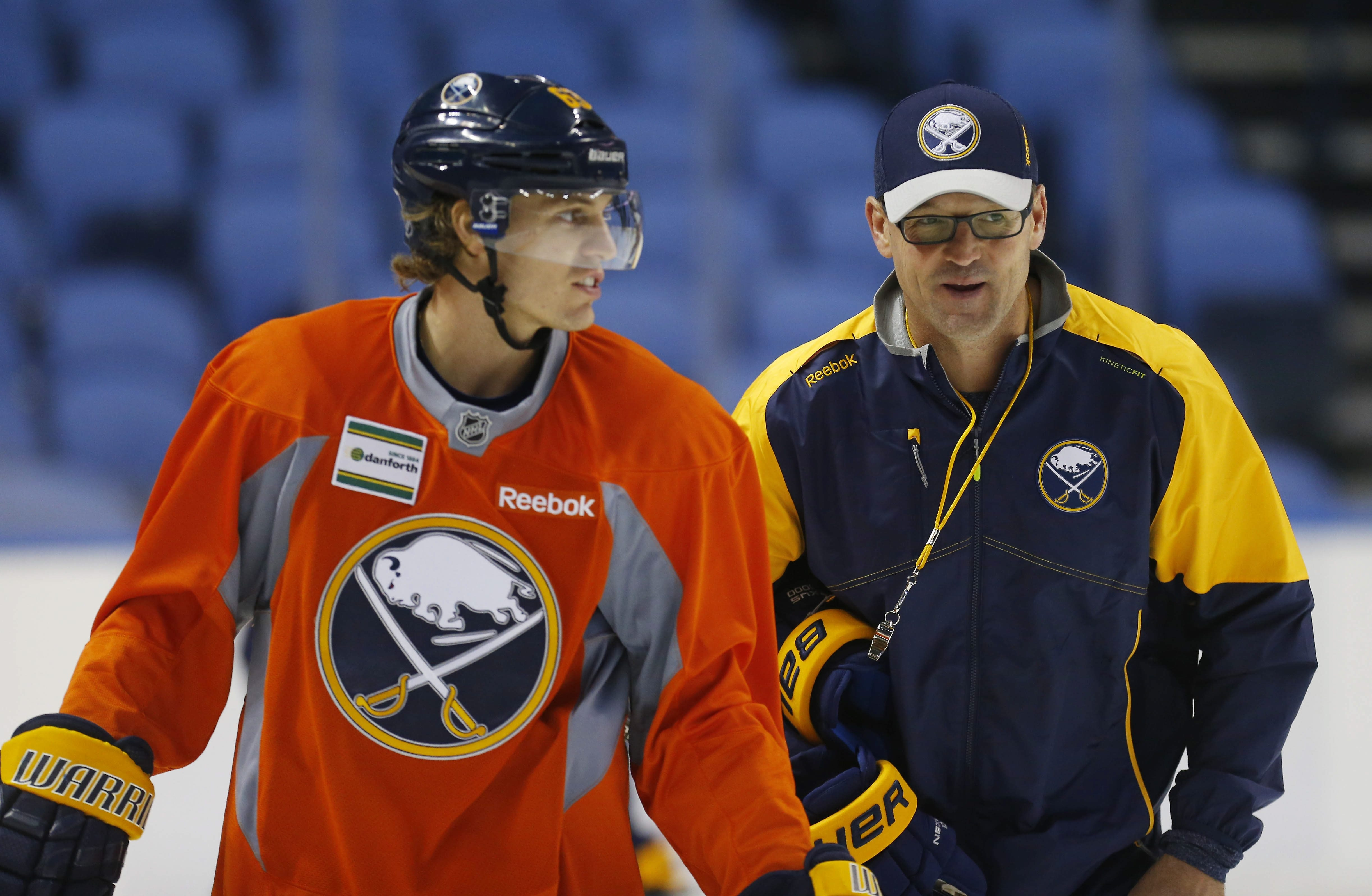 Sabres coach Dan Bylsma, talking to Tyler Ennis at practice Tuesday, will employ a much different lineup against Ottawa on Wednesday night than the one used at Minnesota.