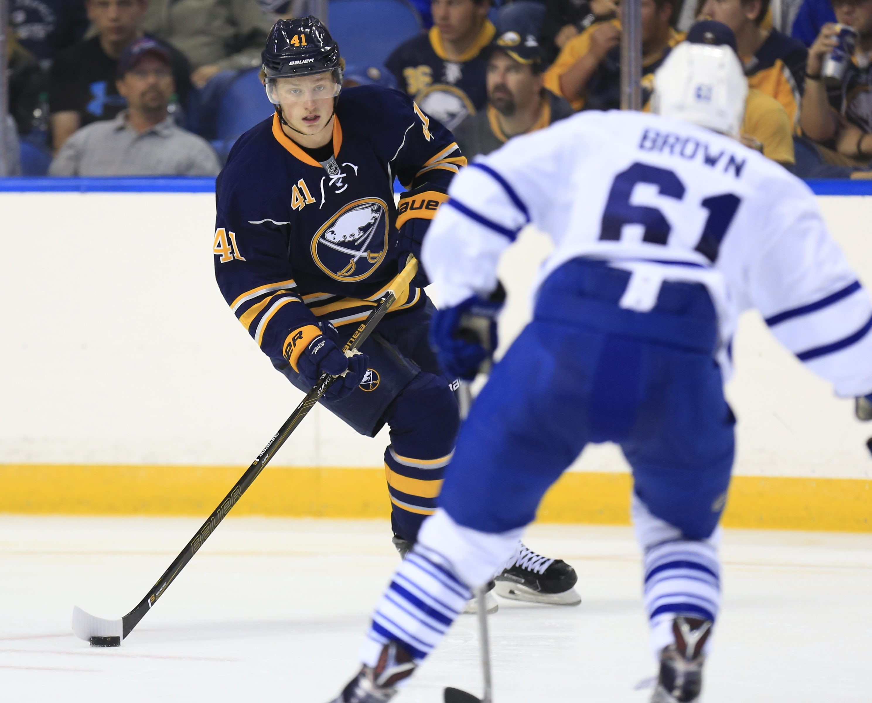 Buffalo Sabre Jack Eichel moves the puck against the Toronto Maple Leafs during second-period action at First Niagara Center on Sept. 29.