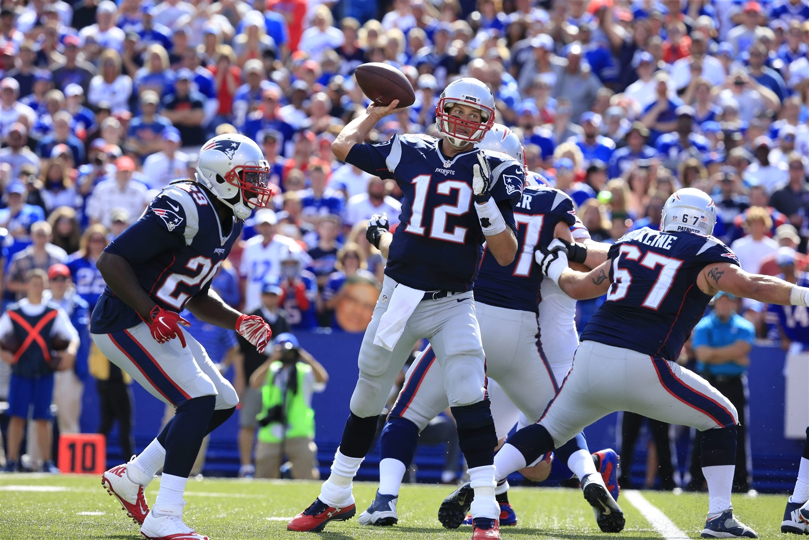Tom Brady recorded the highest passing yardage against Buffalo in Bills history in the teams' first meeting this year. (Buffalo News)