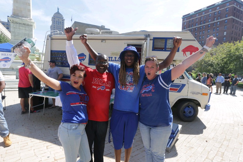 Temperatures will be cooler at The Ralph Sunday than they were at Friday's Buffalo Bills rally at Niagara Square. The daytime high will be in the lower 60s with a kickoff temperature at 1 p.m. of 62 degrees. (John Hickey/Buffalo News)