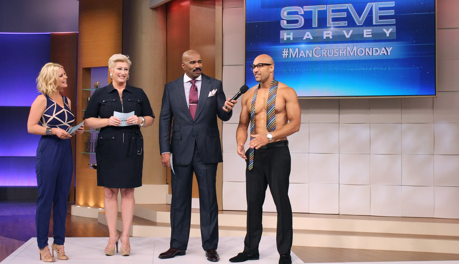 Jay Hunter, far right, a Buffalo native, is Mr. September on 'Steve Harvey.'