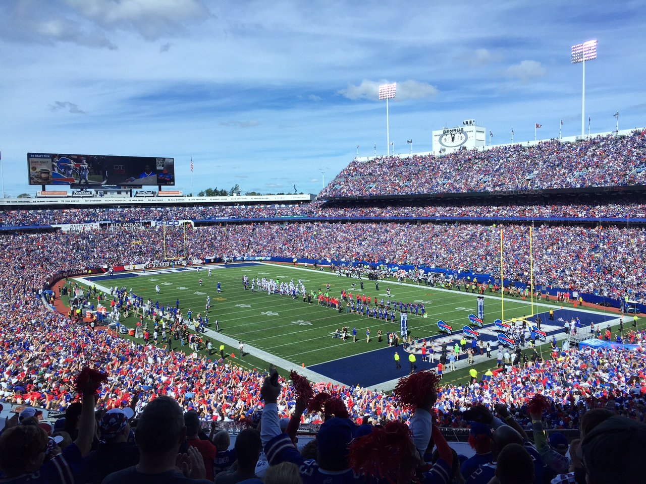 Ralph Wilson Stadium during pregame introductions. (Keith McShea/Buffalo News)