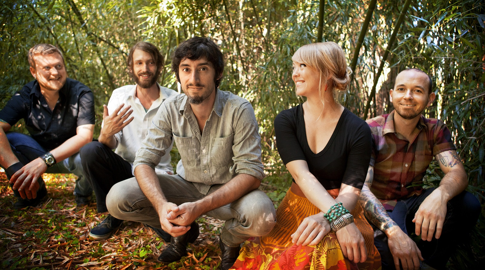 Murder By Death band, from left to right, is Matt Armstrong, Scott Brackett, Adam Turla, Sarah Balliet, Dagan Thogerson.
