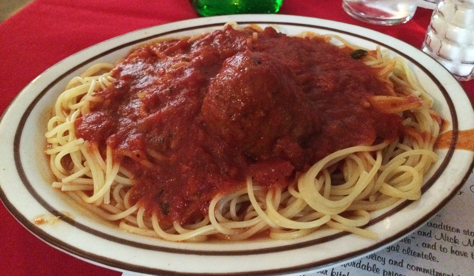 La Hacienda served classic Italian fare, like the spaghetti and meatballs pictured here. (Ryan Nagelhout/Special to The News)