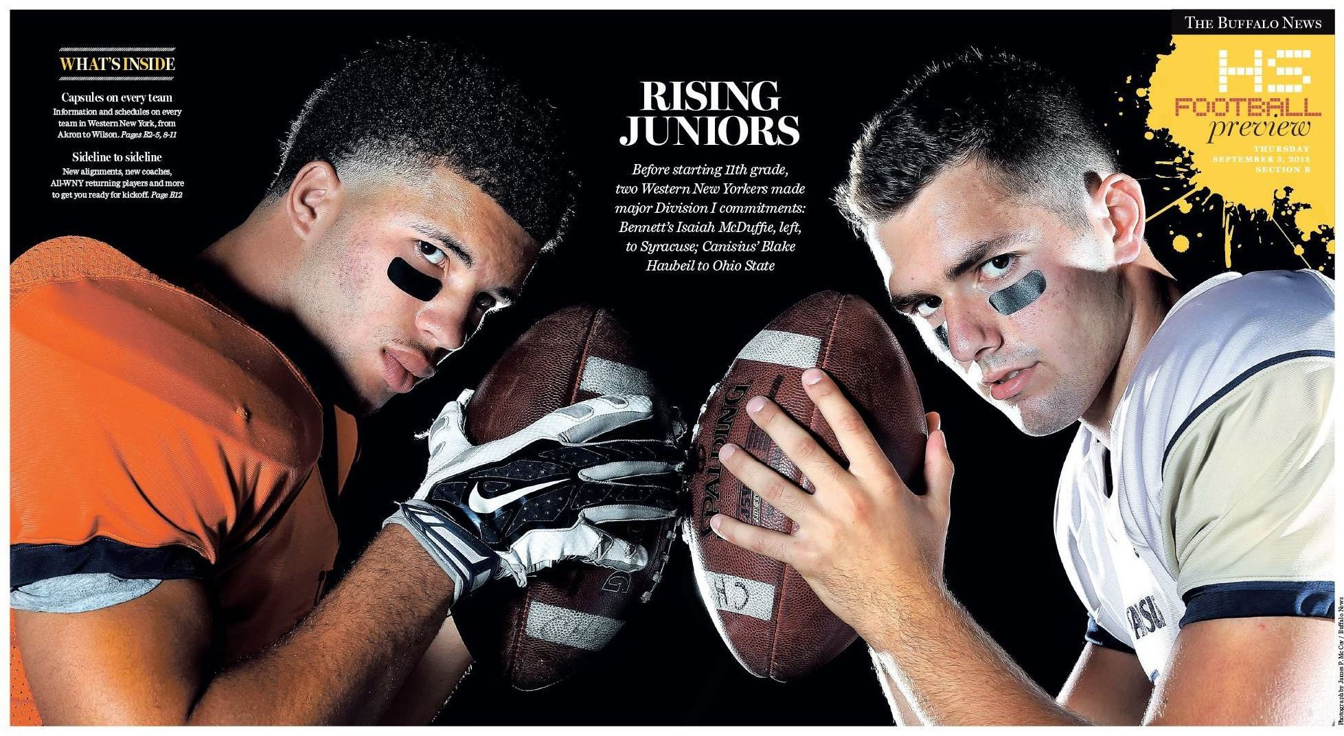 Our 2015 high school football preview cover. (Photo by James P. McCoy; design by Jason Baum)