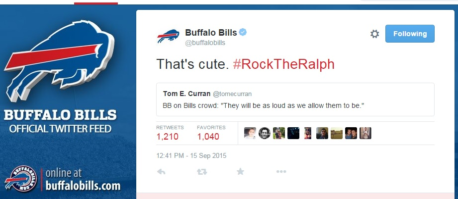The Buffalo Bills' Twitter account got a little 'cute' during Patriots week. (@BuffaloBills)