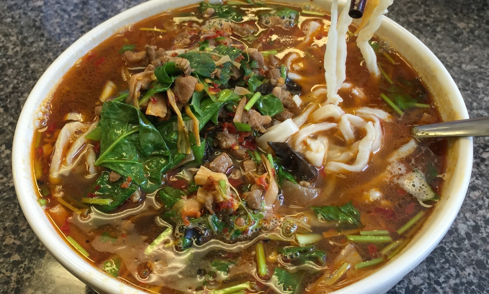 Qishan minced pork noodle, with house-made noodles, at Home Taste (Andrew Galarneau/Buffalo News)