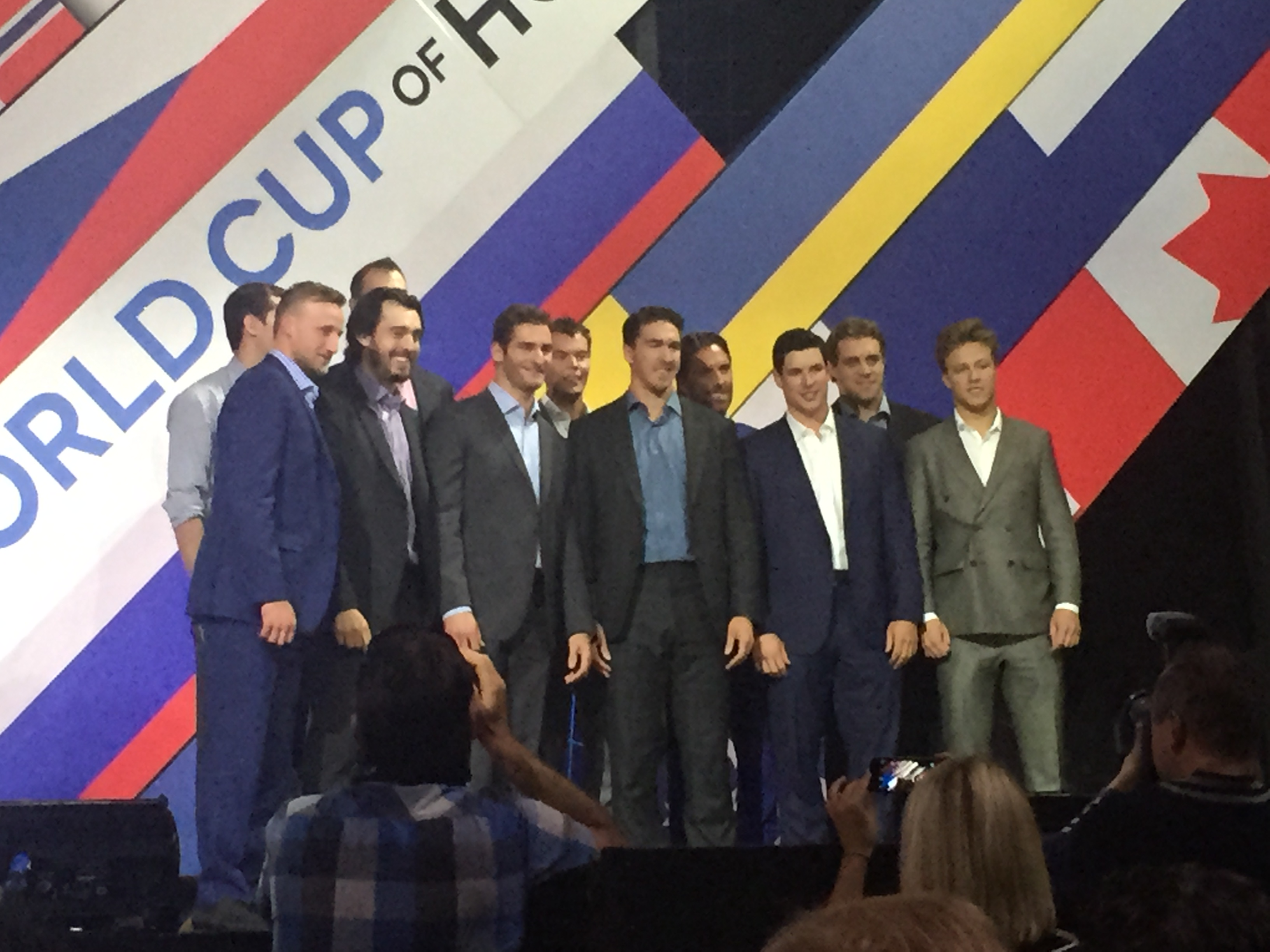 Front-row players at the World Cup press conference in Toronto include from left: Steven Stamkos, Drew Doughty, Brandon Saad, Ryan McDonagh and Sidney Crobsy (Mike Harrington/Buffalo News)