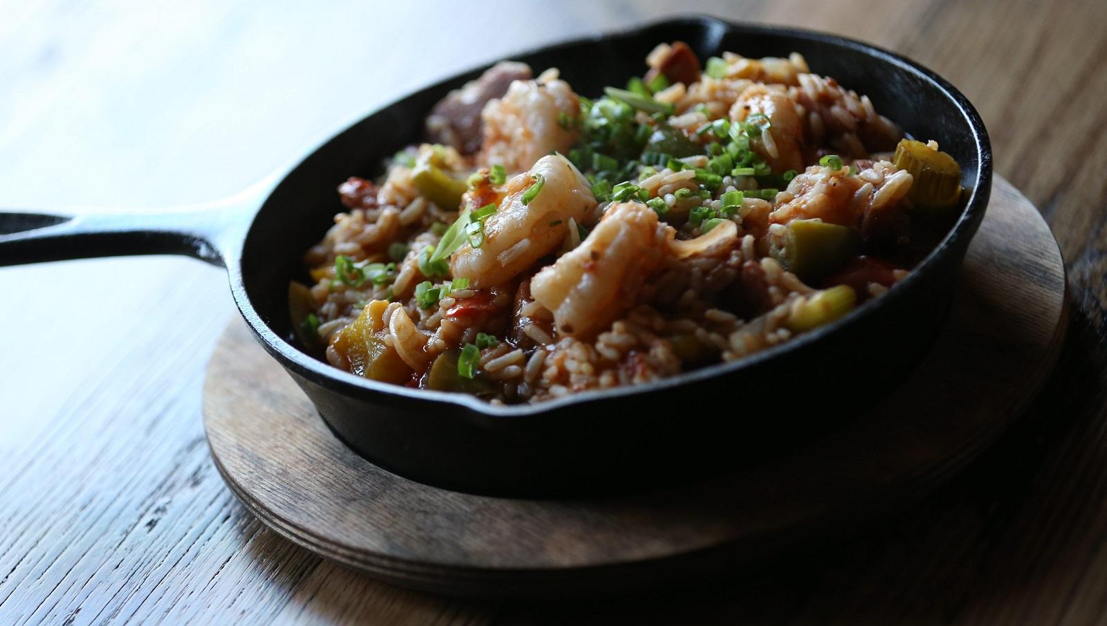 The traditional Gulf shrimp sausage jambalaya in a native Louisiana long grain rice stew. (Sharon Cantillon/Buffalo News)