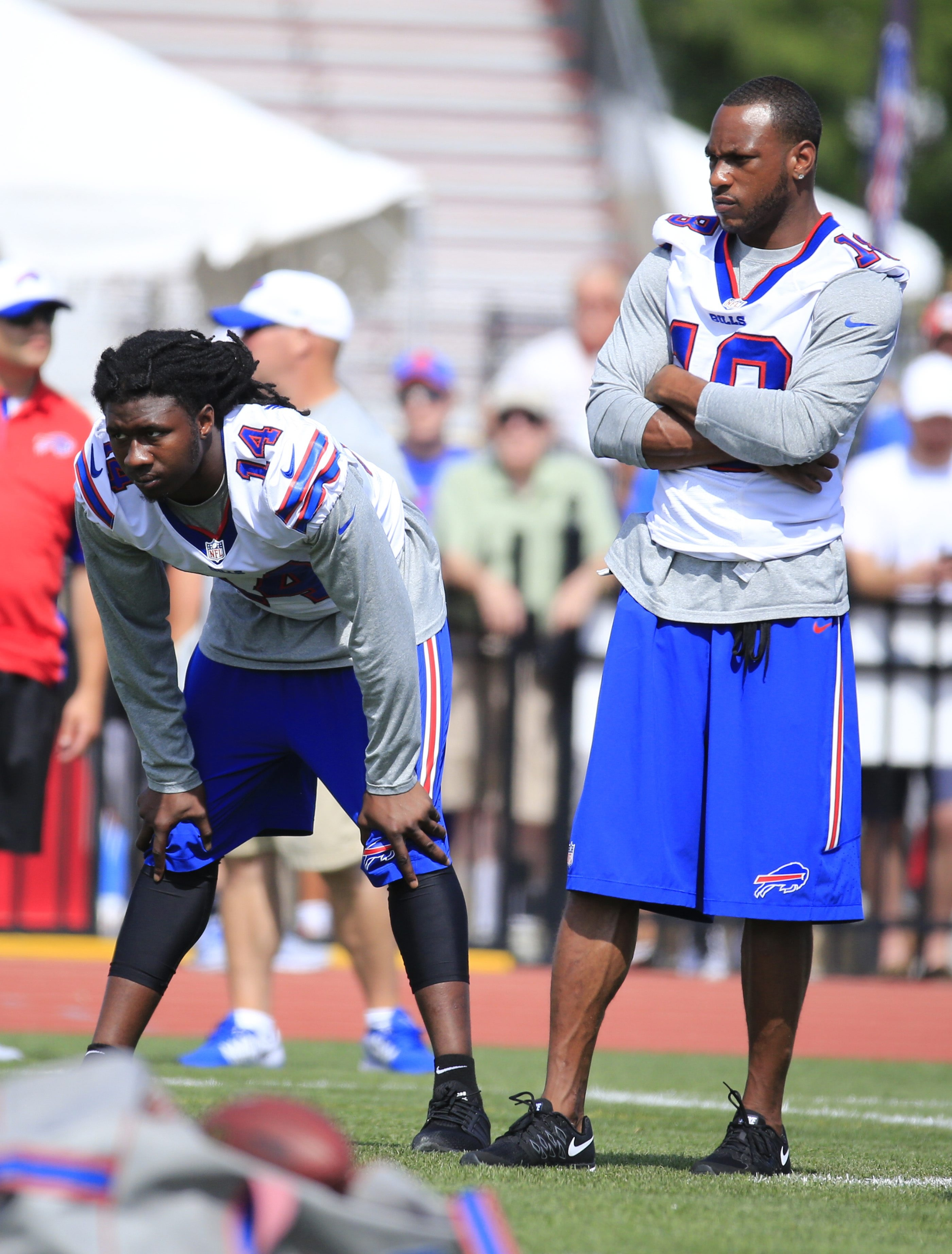 Buffalo Bills Wide receivers Sammy Watkins and Percy Harvin watch  during training camp at St. John Fisher College on Friday, Aug. 7, 2015.  (Harry Scull Jr/Buffalo News)