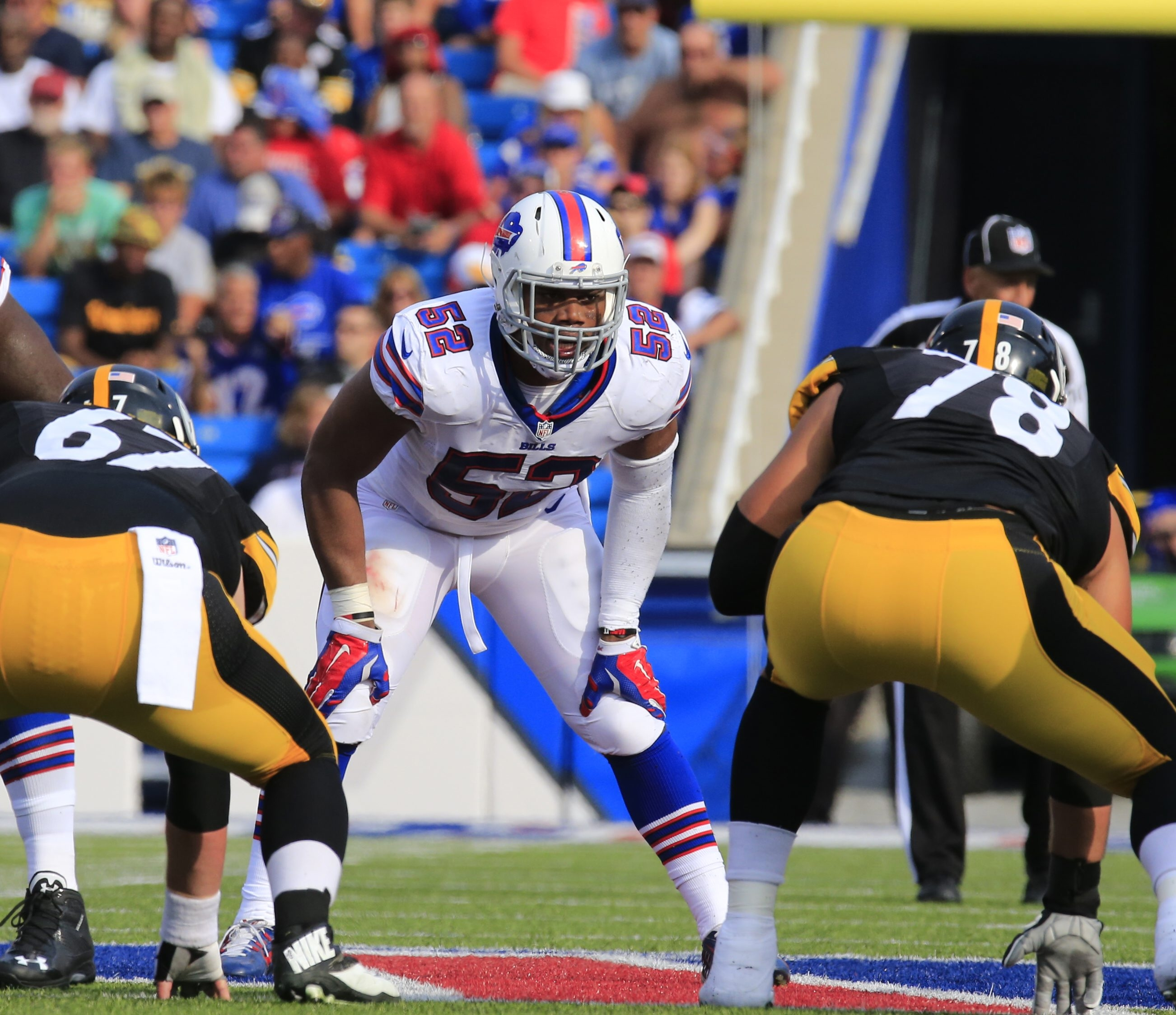 """Bills linebacker Preston Brown says that with all the team's injuries on offense, """"we've got to be that attacking, physical defense,"""" against the Jaguars on Sunday. """"So we have to send a lot of blitzes and get them off their spot."""""""