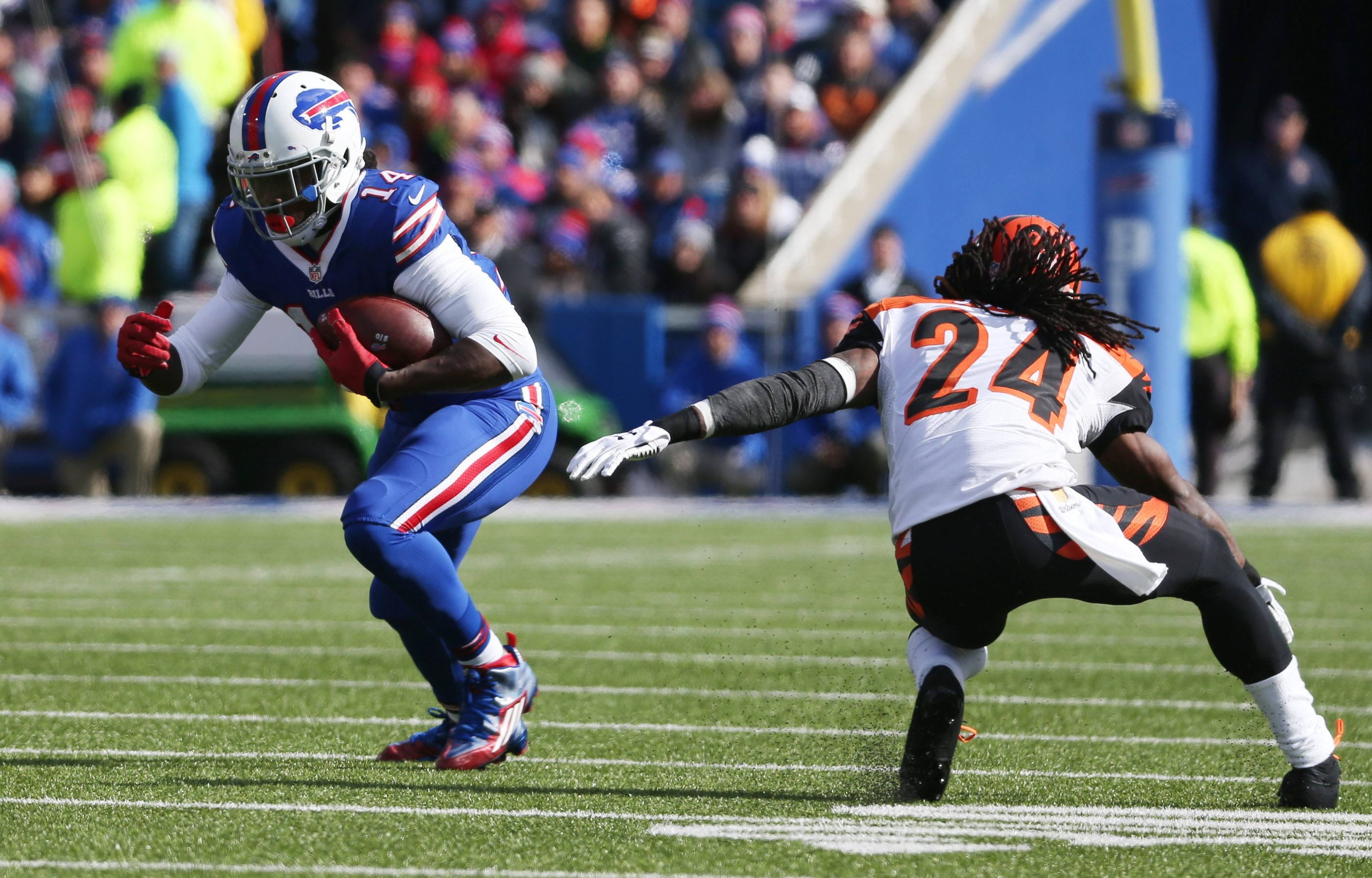 Buffalo Bills wide receiver Sammy Watkins (14) beats Cincinnati Bengals cornerback Adam Jones (24) in the second quarter at Ralph Wilson Stadium in Orchard Park,NY on Sunday, Oct. 18, 2015.  (James P. McCoy/ Buffalo News)