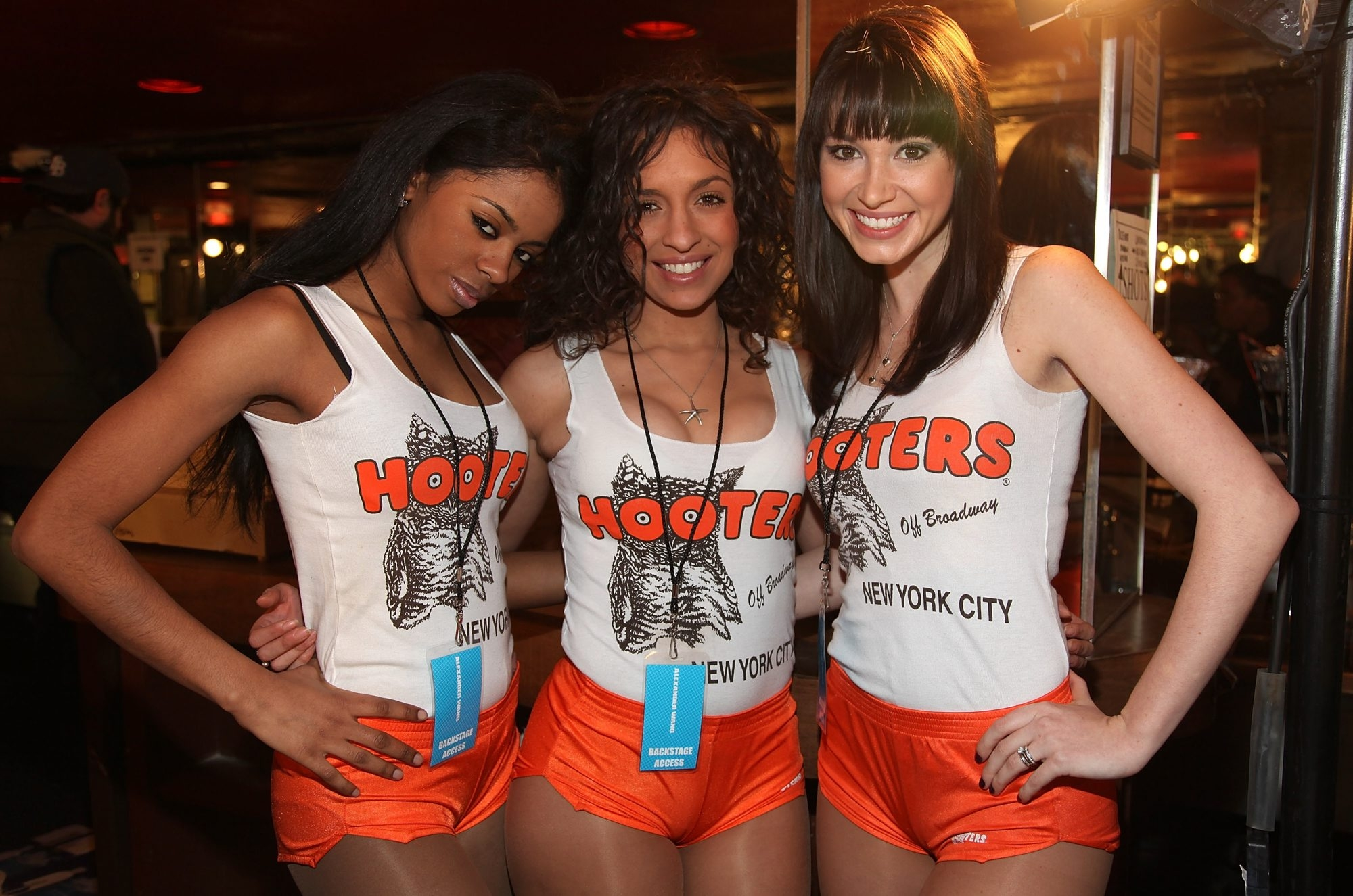 Hooters girls in New York City pose backstage at a fashion show at Roseland Ballroom. (Getty file photo)