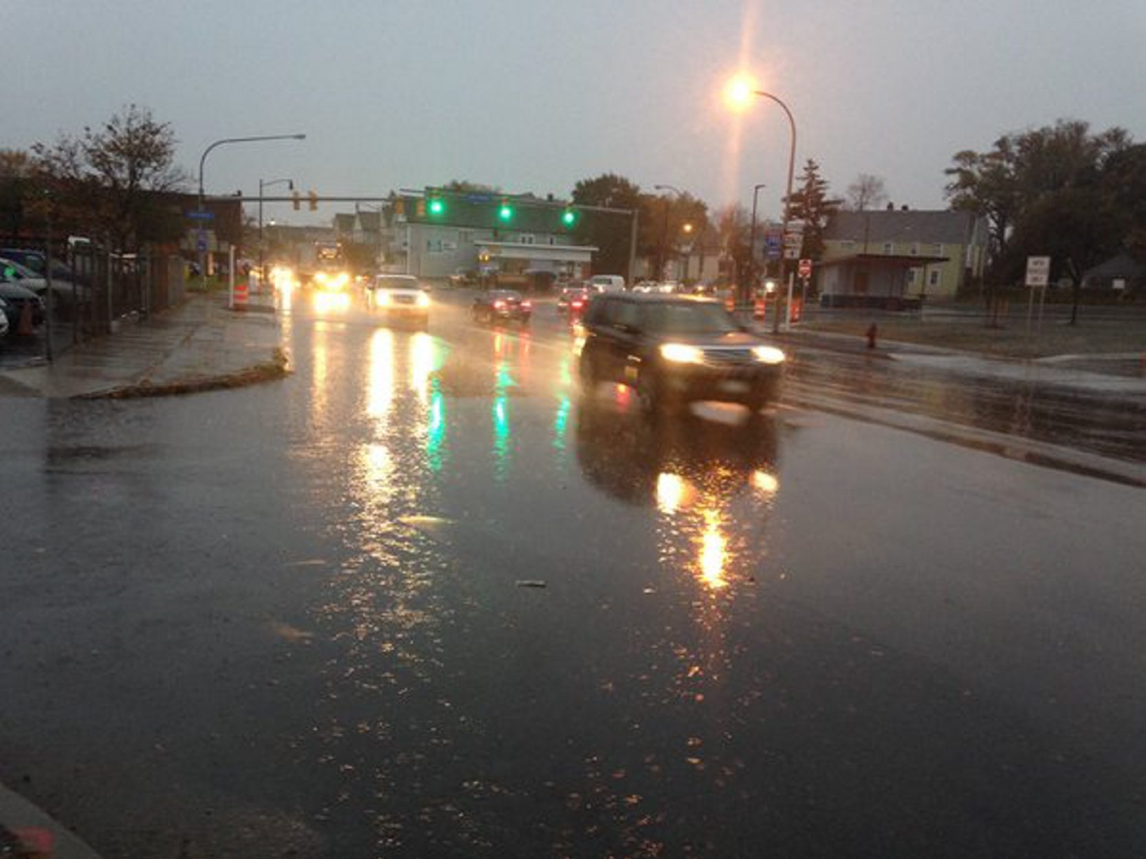 Commuters encountered wet roads Wednesday around Western New York. (John Hickey/Buffalo News)