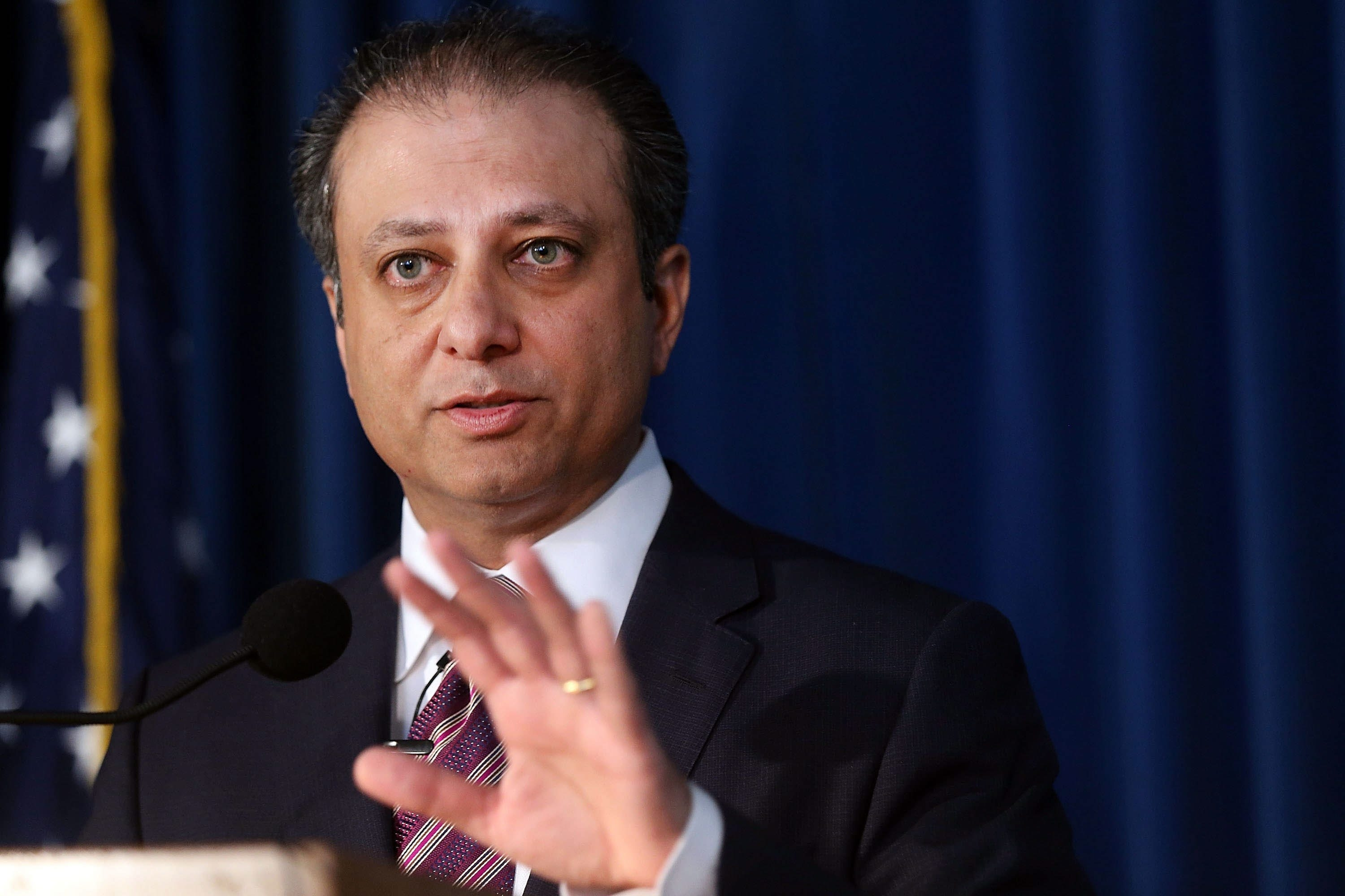 U.S. Attorney Preet Bharara files charges.