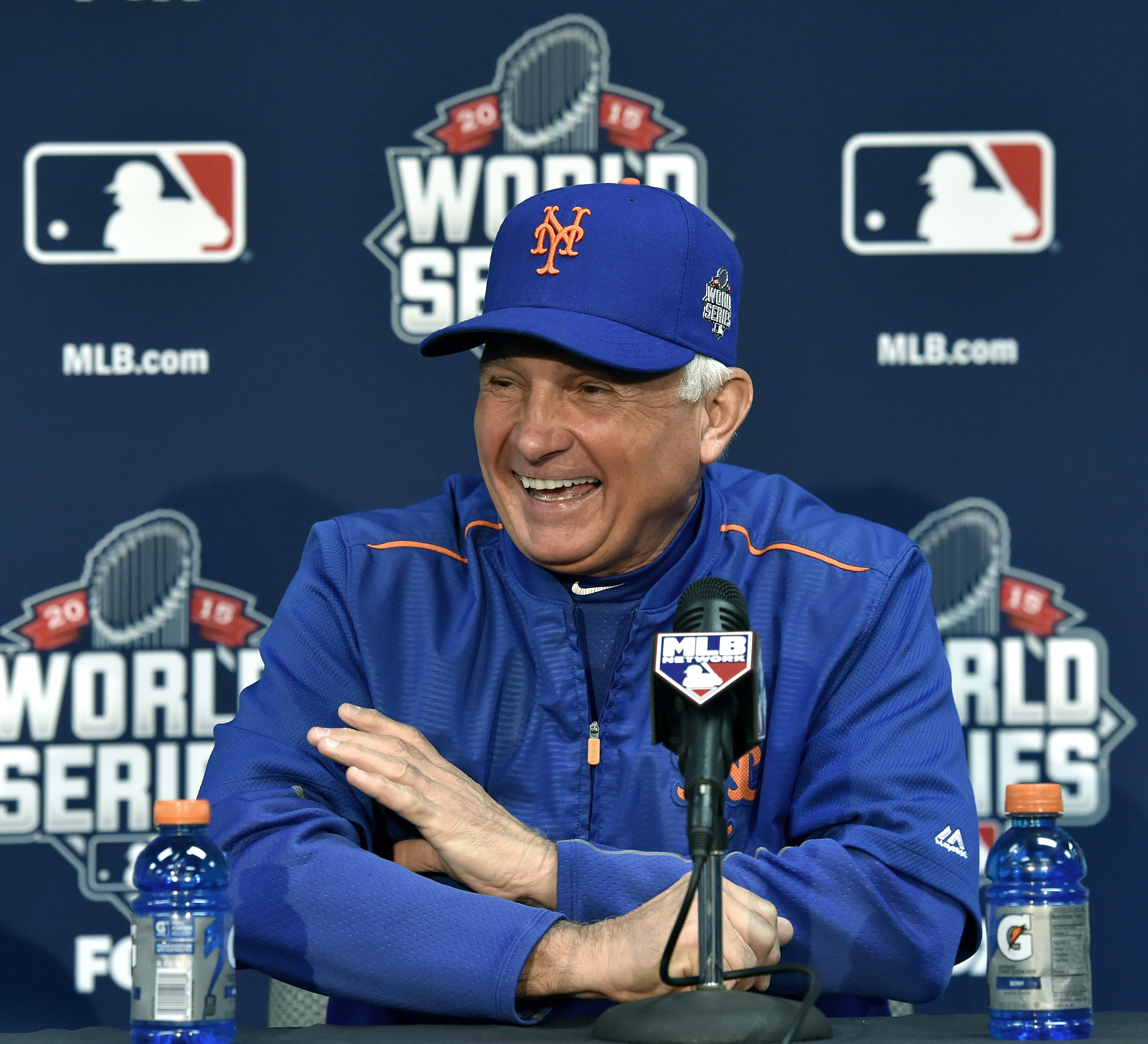 New York Mets manager Terry Collins during the World Series workout press conference on Monday, Oct. 26, 2015, at Kauffman Stadium in Kansas City, Mo. (John Sleezer/Kansas City Star/TNS)
