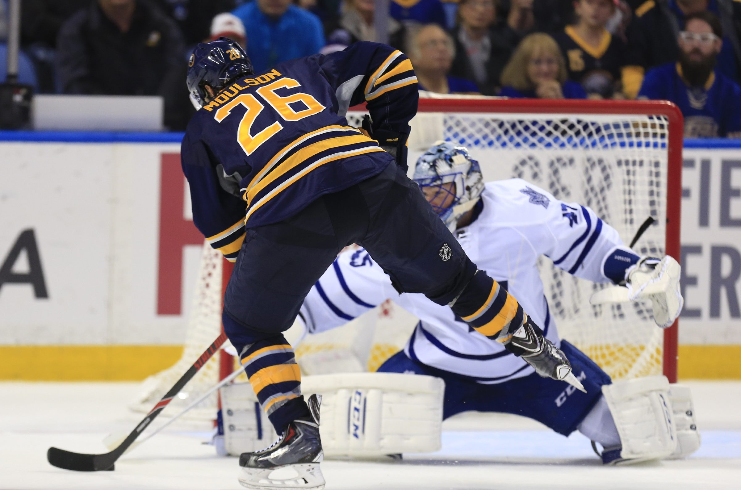 Matt Moulson scores for the Sabres in a shootout against the Toronto Maple Leafs at First Niagara Center on Wednesday.
