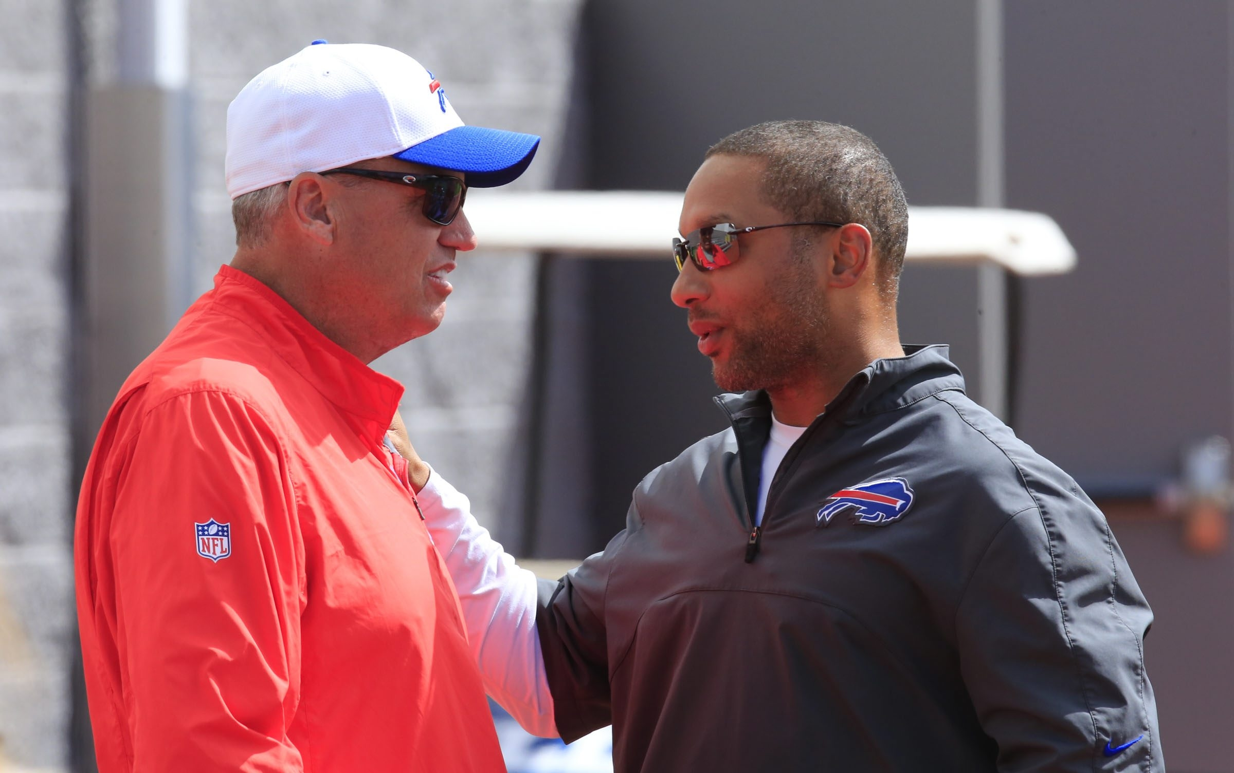 If the Bills' season isn't a success, it's likely General Manager Doug Whaley, right, would take the big fall instead of coach Rex Ryan.
