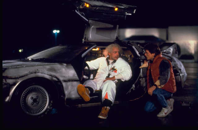 Doc Brown shows Marty his time machine in Back to the Future