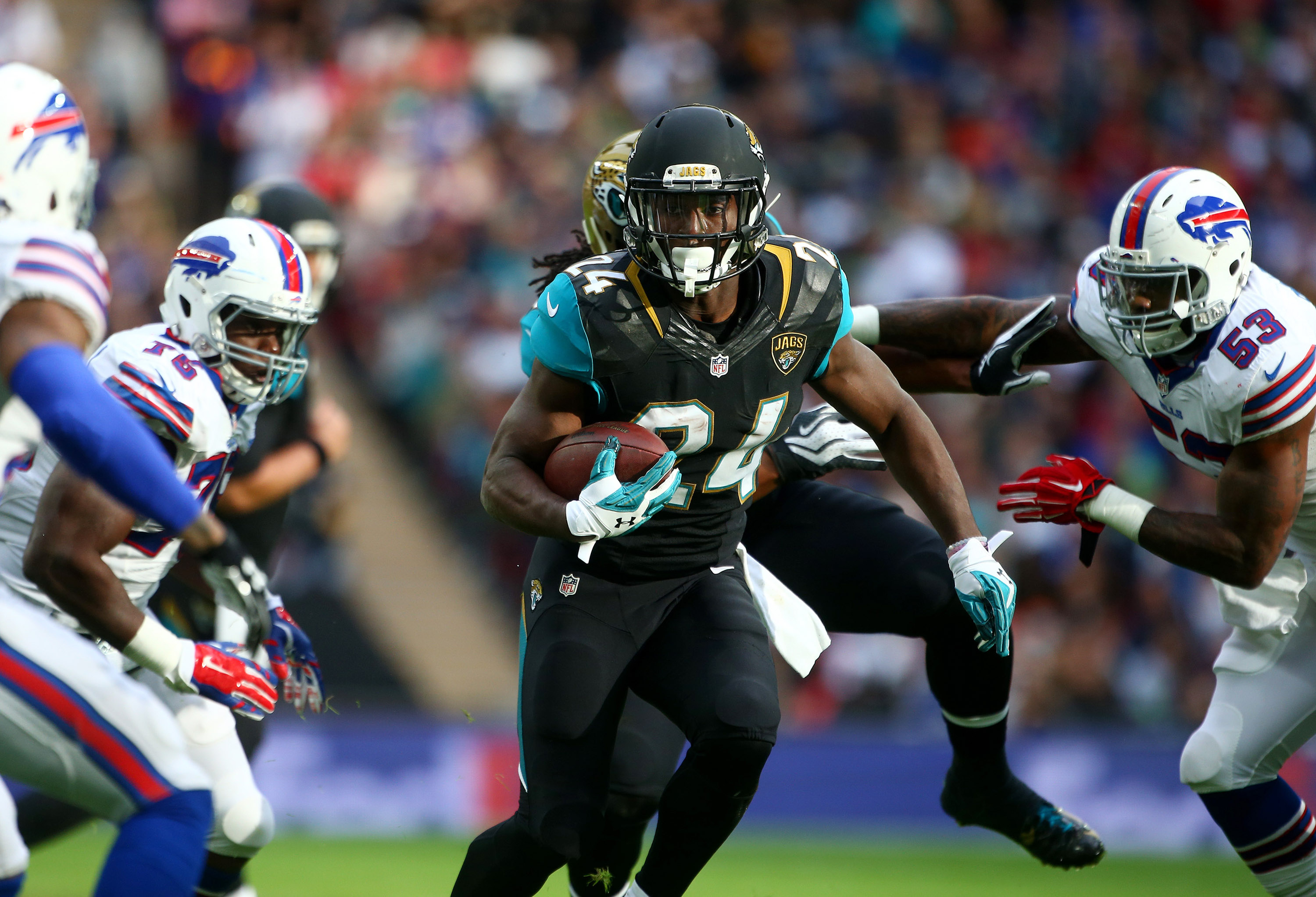 TJ Yeldon of the Jaguars runs on the Buffalo defense. (Getty Images)