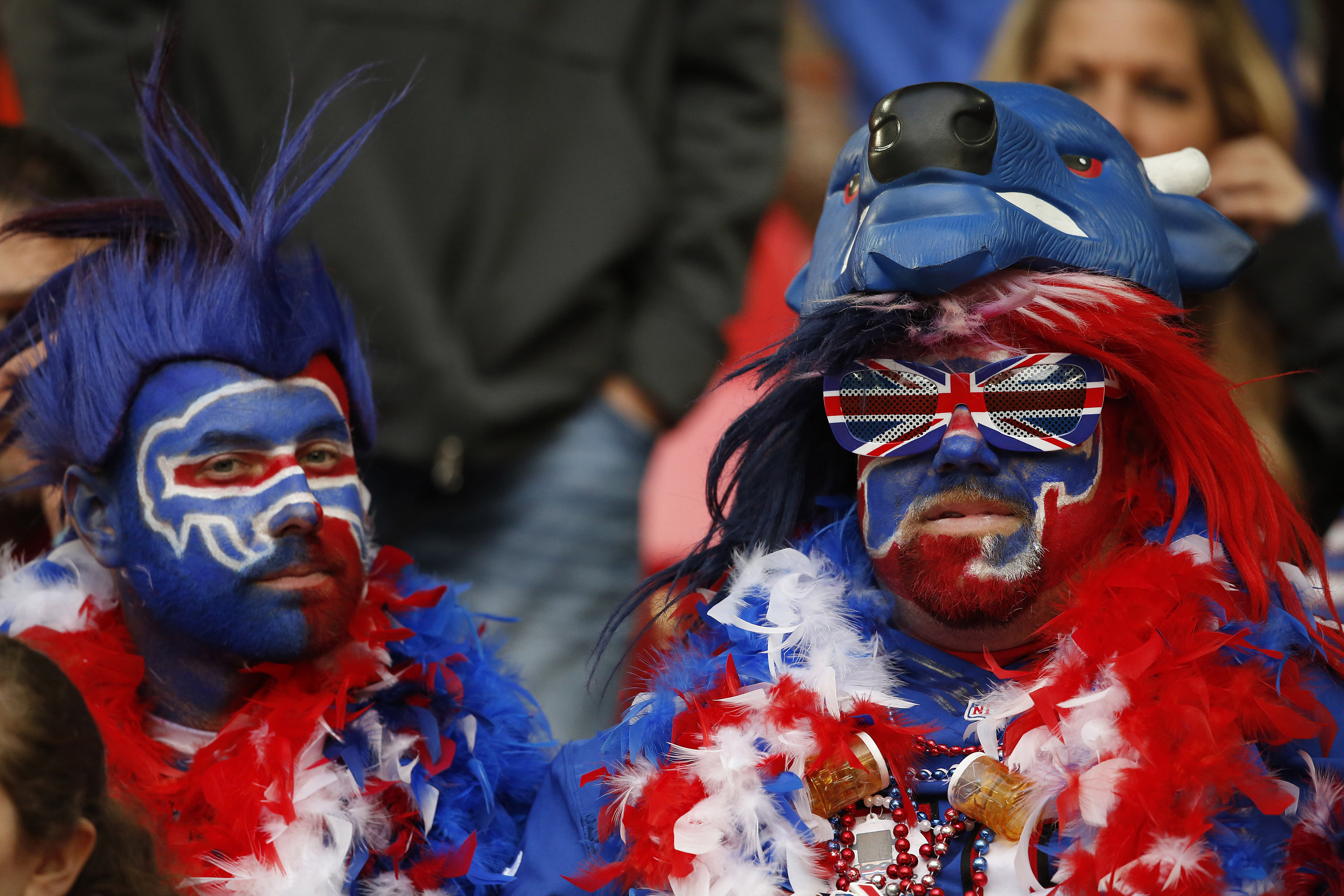 Face paint can't cover up the disappointment of these Buffalo Bills at Wembley. (Getty Images)