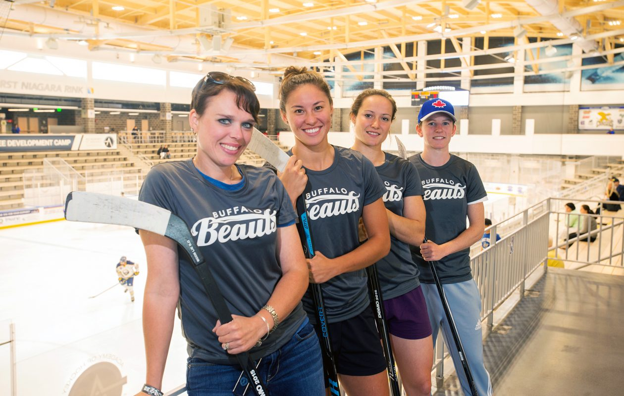 Players from the Buffalo Beauts - part of the newly formed National Women's Hockey League - played their first game last week. Left to right: General Manager Linda Mroz; defensive player Kelly McDonald; forward Devon Skeats; forward Hailey Browne. (Michael P. Majewski)