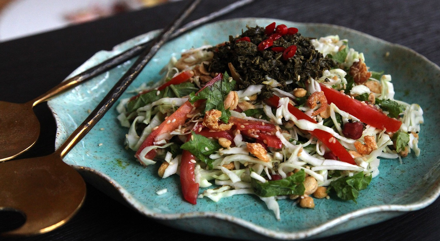 The homemade Burmese tea leaf salad, made from products from Lin Asian Market. (Jenny Luk/Special to The News)