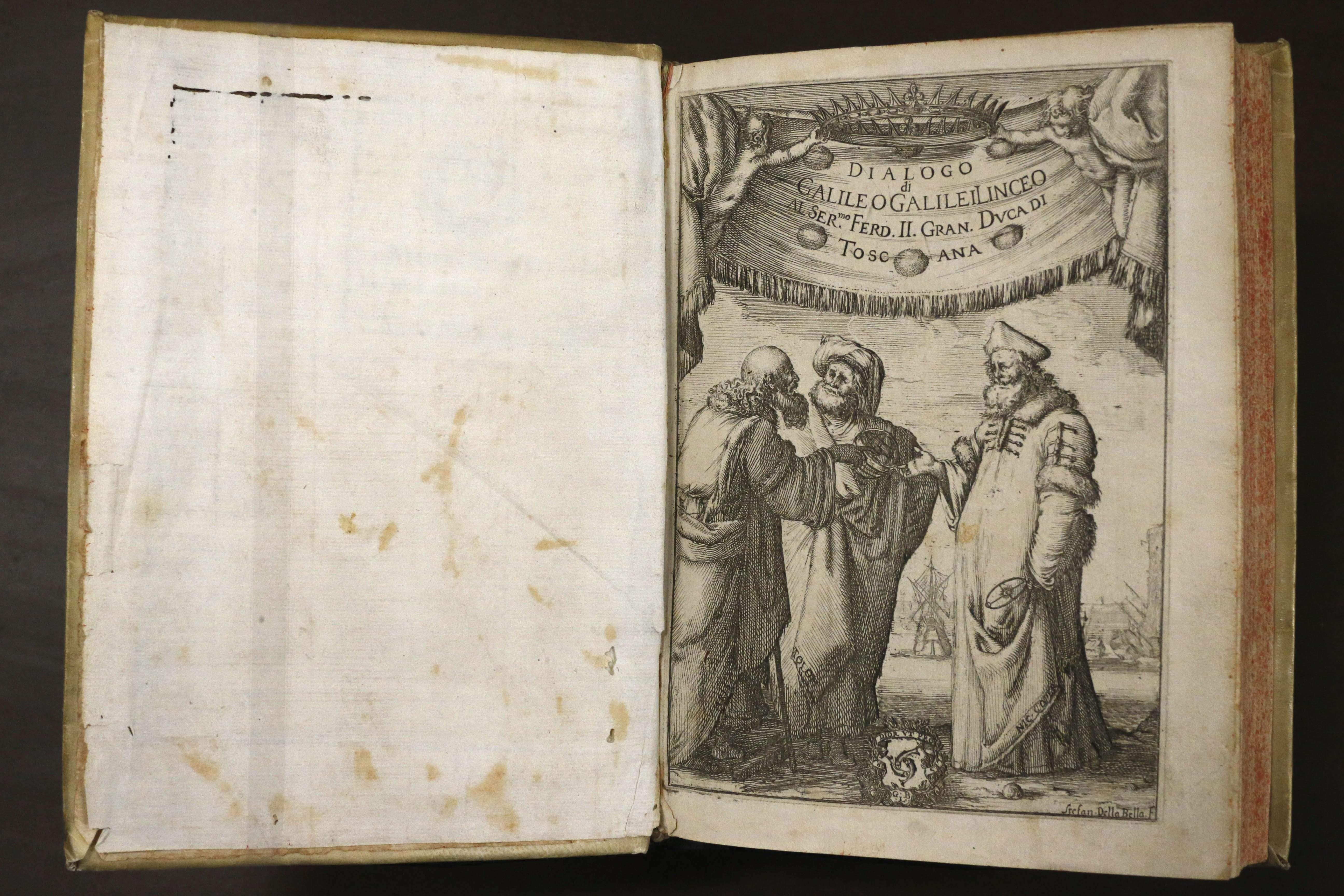 'Dialogo die Massimi Sistemi del Mondo' by Galileo, printed in 1632, which is featured in the new exhibition 'Milestones of Science' at the Buffalo and Erie County Public Library, Wednesday, Nov. 18, 2015.  (Derek Gee/Buffalo News)