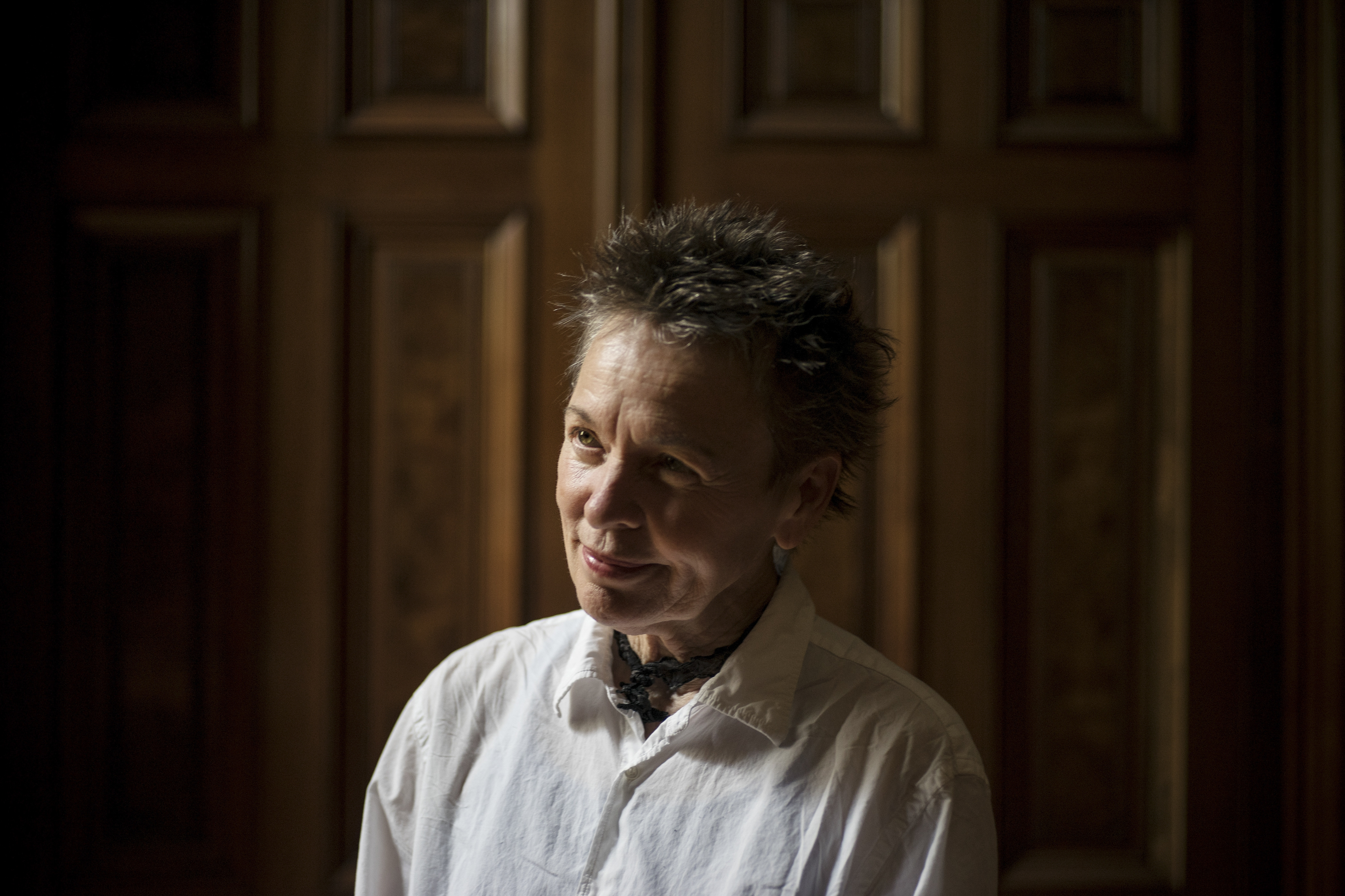 PHOTO MOVED IN ADVANCE AND NOT FOR USE - ONLINE OR IN PRINT - BEFORE OCT. 18, 2015. -- Laurie Anderson at the Park Avenue Armory in New York, Aug. 20, 2015. Anderson has a new film, 'Heart of a Dog,' that opens in New York on Oct. 21, 2015. (Todd Heisler/The New York Times)