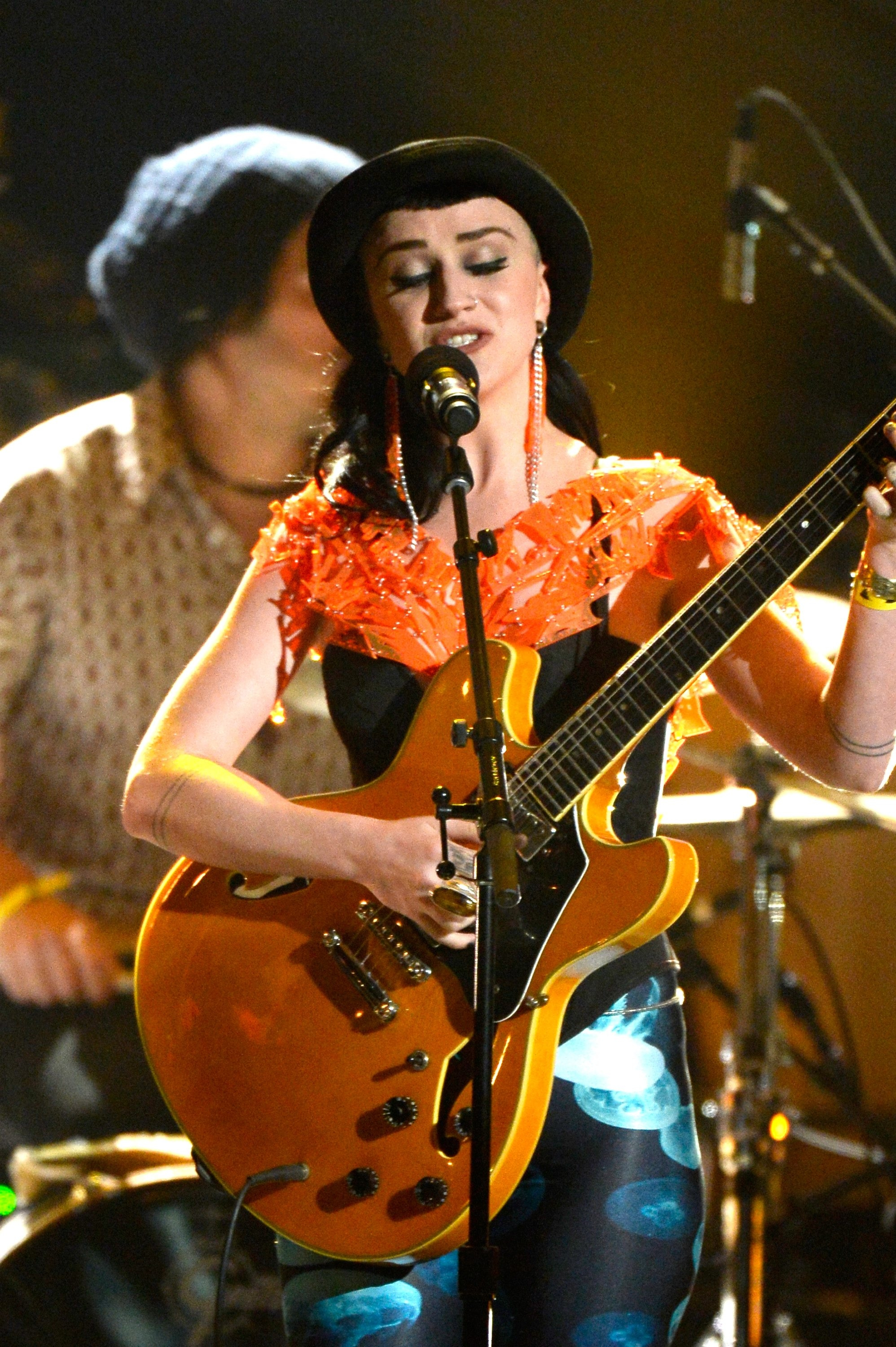 LOS ANGELES, CA - JANUARY 26:  Musician Nai Palm of Hiatus Kaiyote performs onstage during the 56th GRAMMY Awards Pre-Telecast Show at Nokia Theatre L.A. Live on January 26, 2014 in Los Angeles, California.  (Photo by Kevork Djansezian/Getty Images)