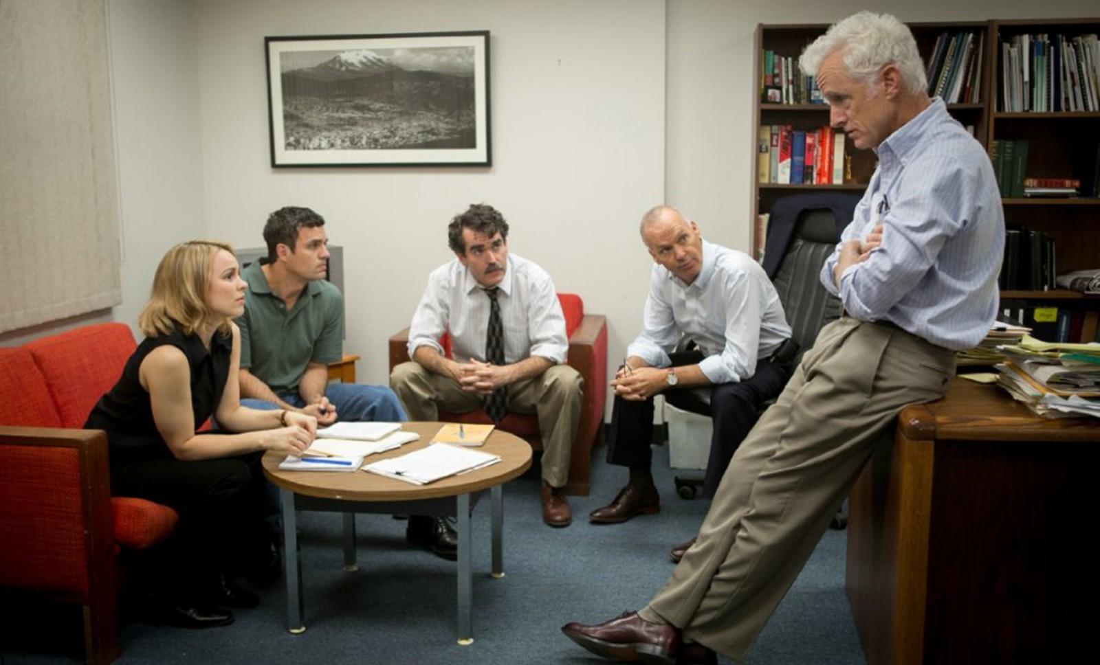 "From left, Rachel McAdams, Mark Ruffalo, Brian d'Arcy James, Michael Keaton and John Slattery star in ""Spotlight."""