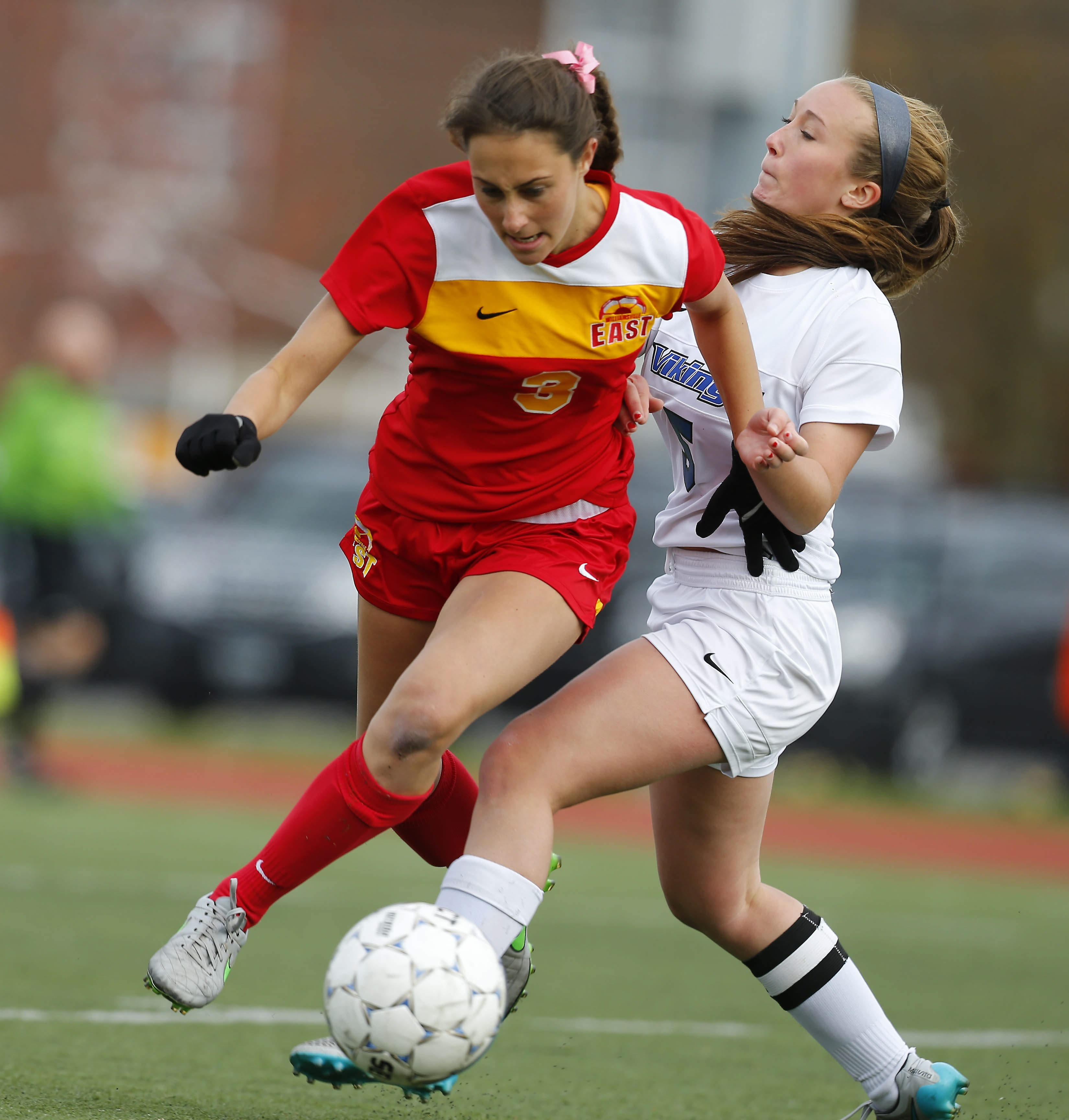 Williamsville East's Marissa Birzon was pretty much unstoppable as she scored all four goals for the third-seeded Flames in their overtime win over top seed Grand Island.  (Mark Mulville/Buffalo News)