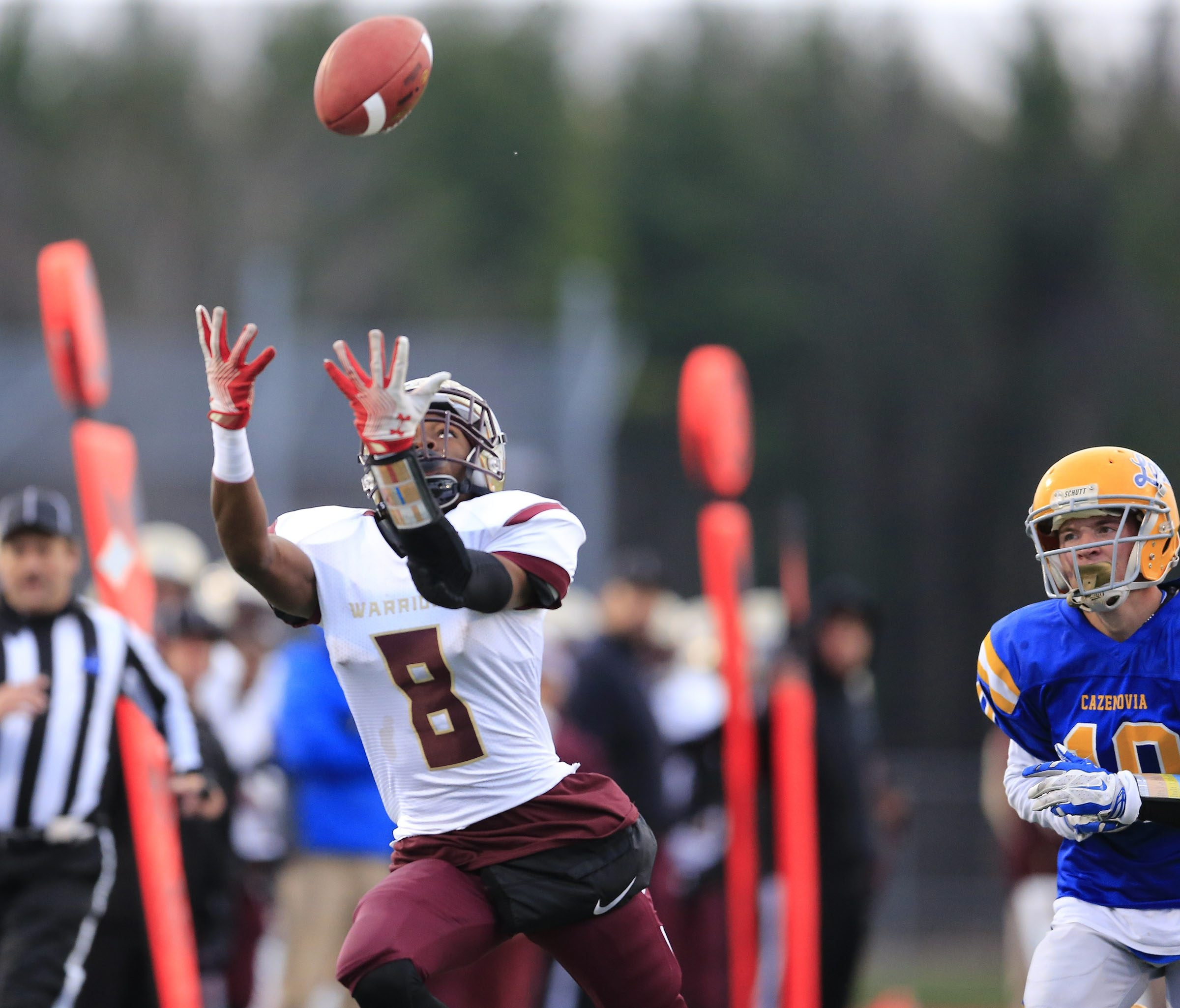 Cheektowaga's Zahir Annoor can't corral this Eric Bartnik pass during the Class B semifinals.