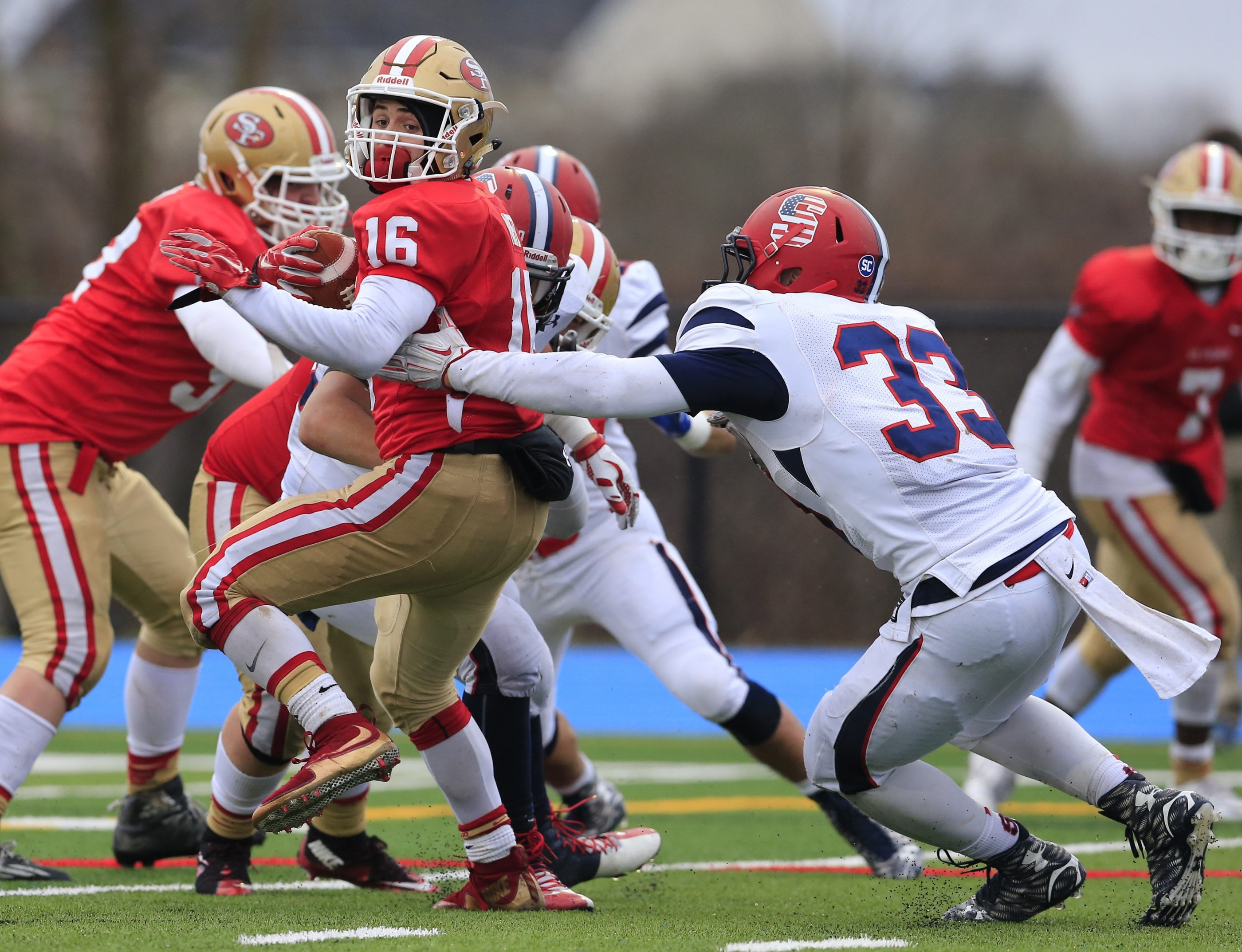 St. Francis running back Brandon Metz runs against Archbishop Stepinac during action in the State Catholic Championship game at Grand Island High School  on Saturday, Nov. 28, 2015. (Harry Scull Jr./Buffalo News)