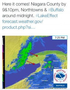 A tweet from @NWSBuffalo about 7:30 p.m., Nov. 19, 2014.